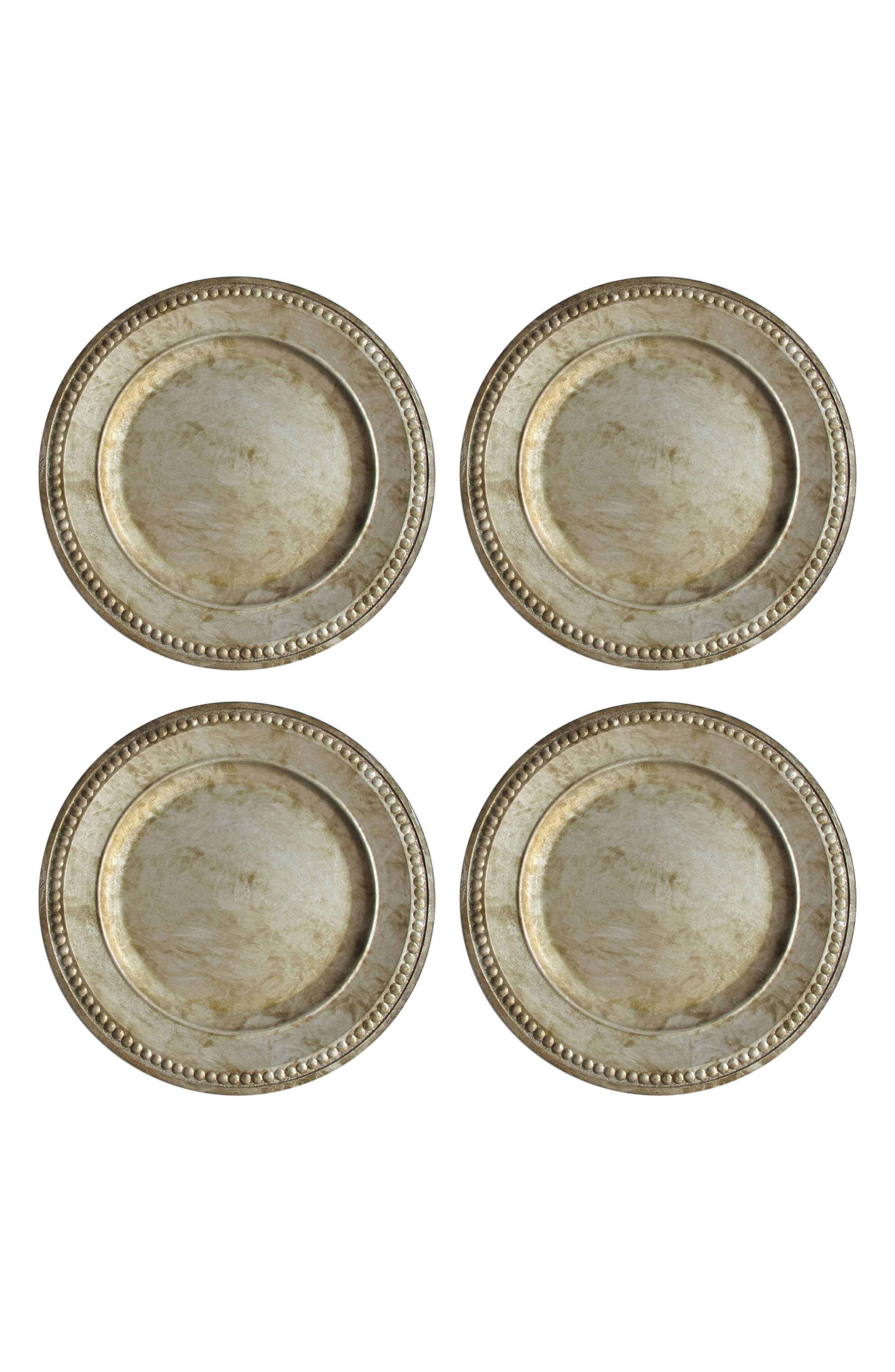 Set of 4 Beaded Antique Charger Plates,                             Main thumbnail 1, color,                             040