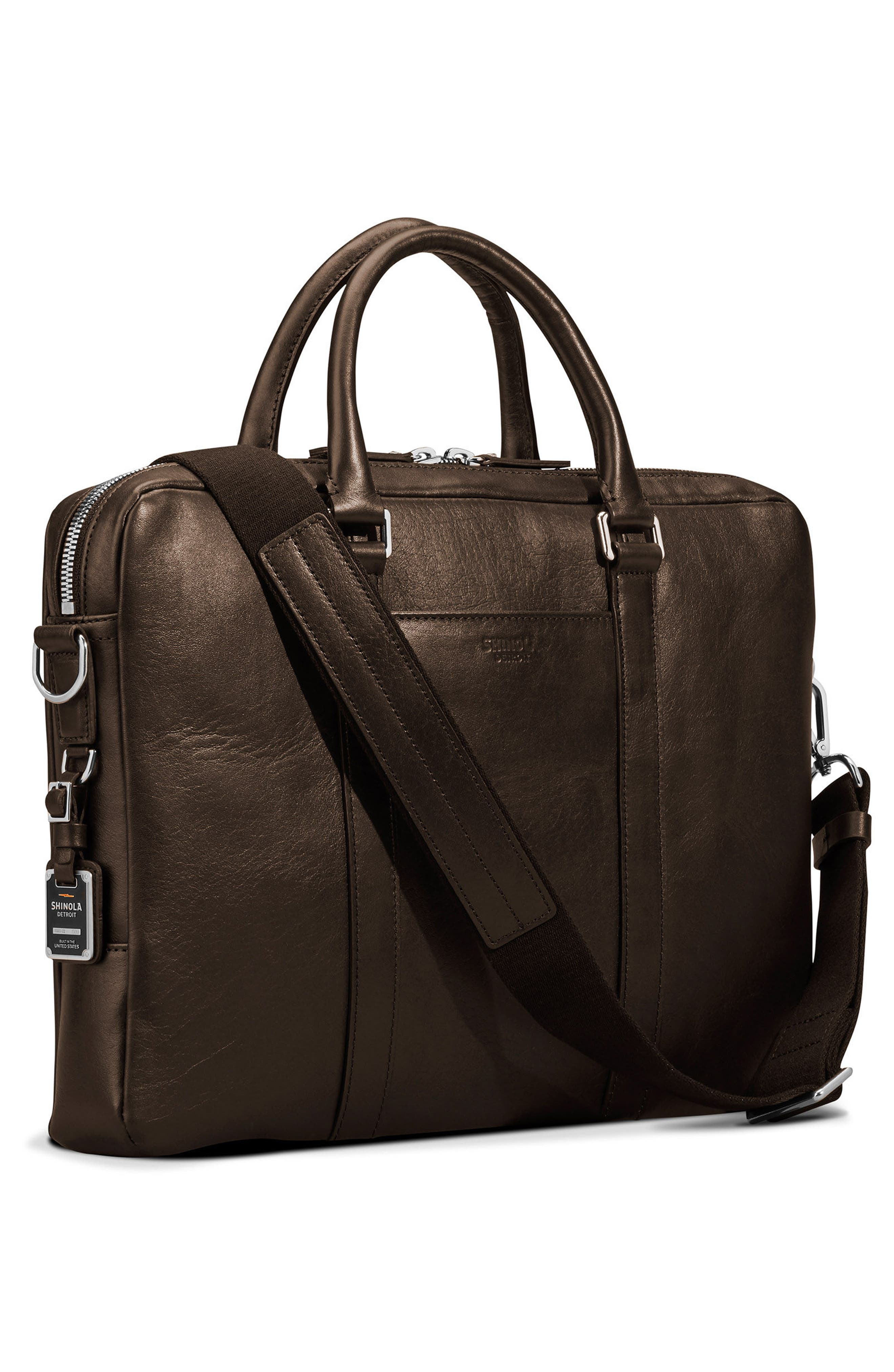 Signature Leather Computer Briefcase,                             Alternate thumbnail 4, color,                             DEEP BROWN