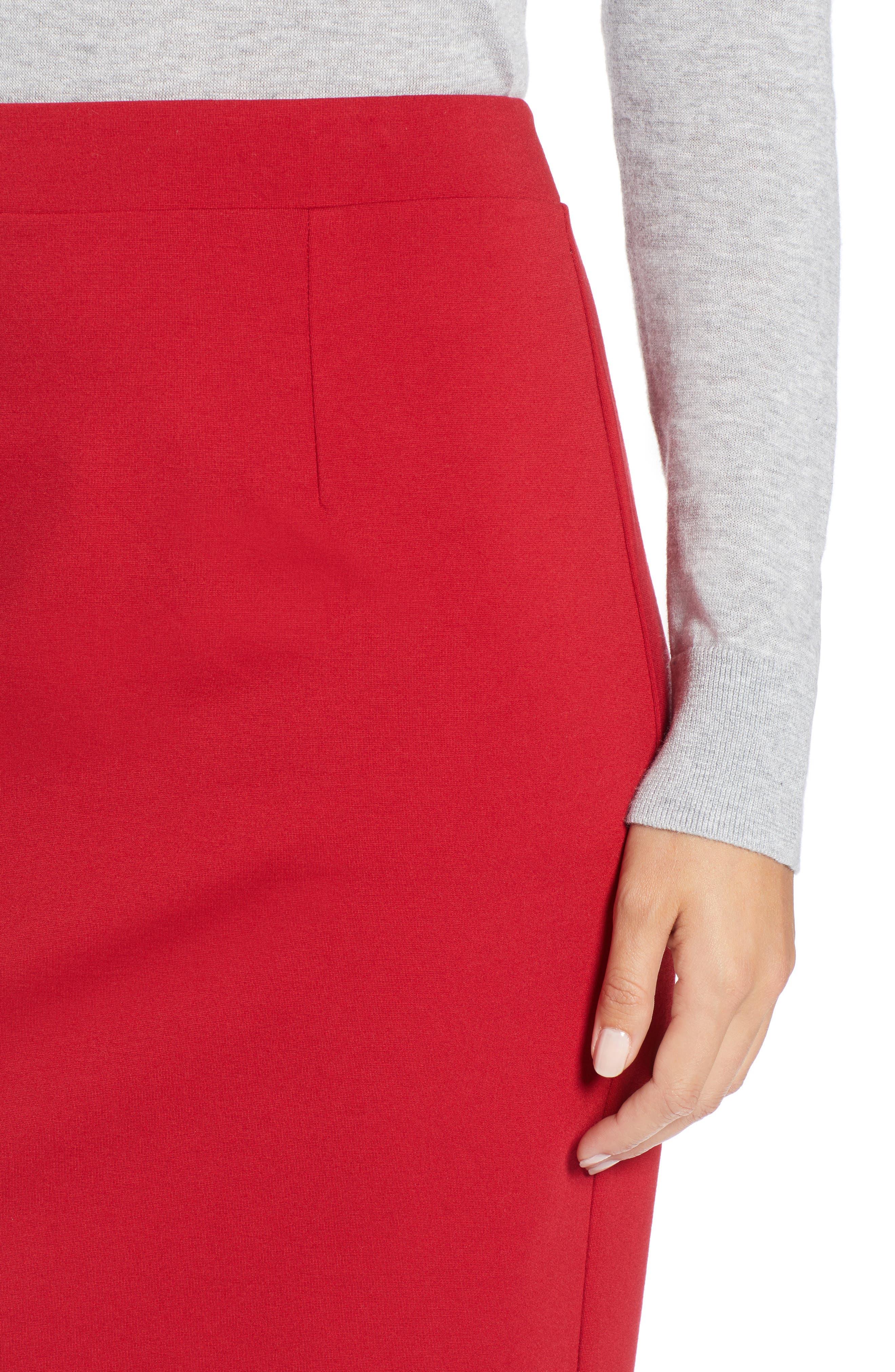 Ponte Pencil Skirt,                             Alternate thumbnail 4, color,                             603
