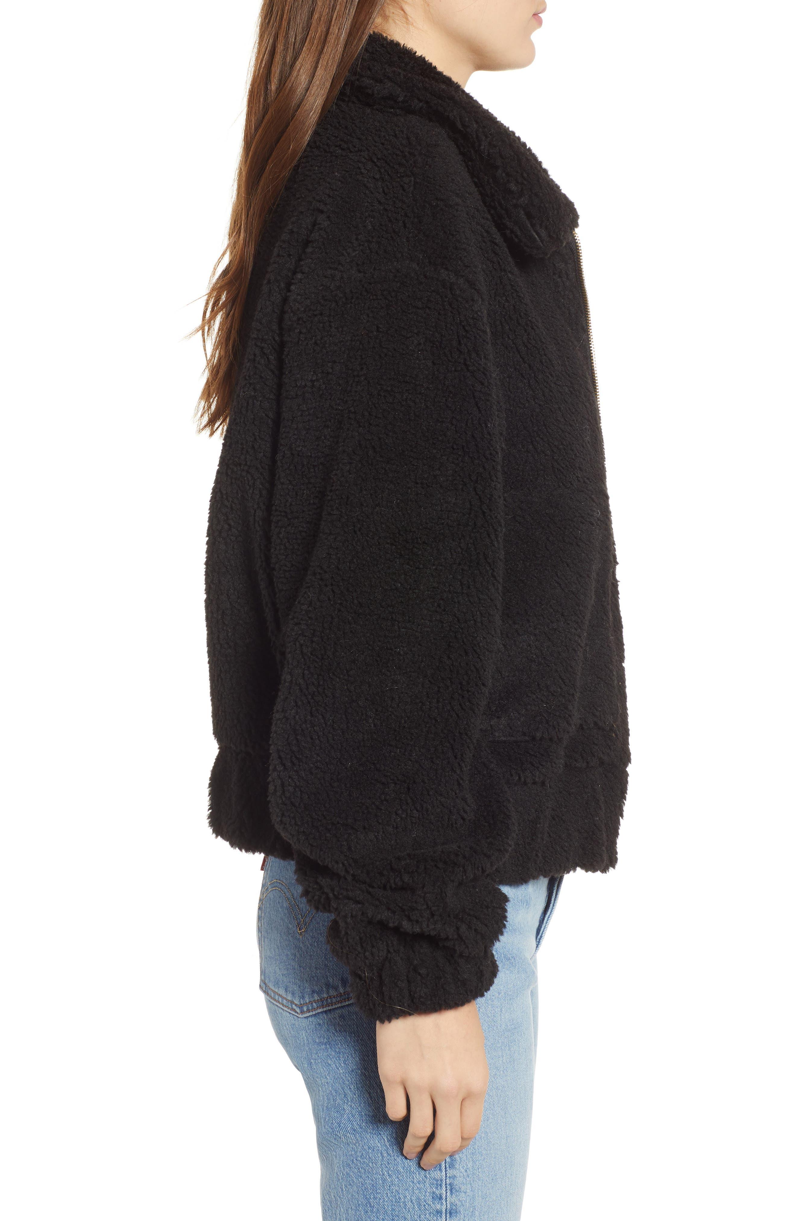 Northy Faux Fur Jacket,                             Alternate thumbnail 3, color,                             BLACK