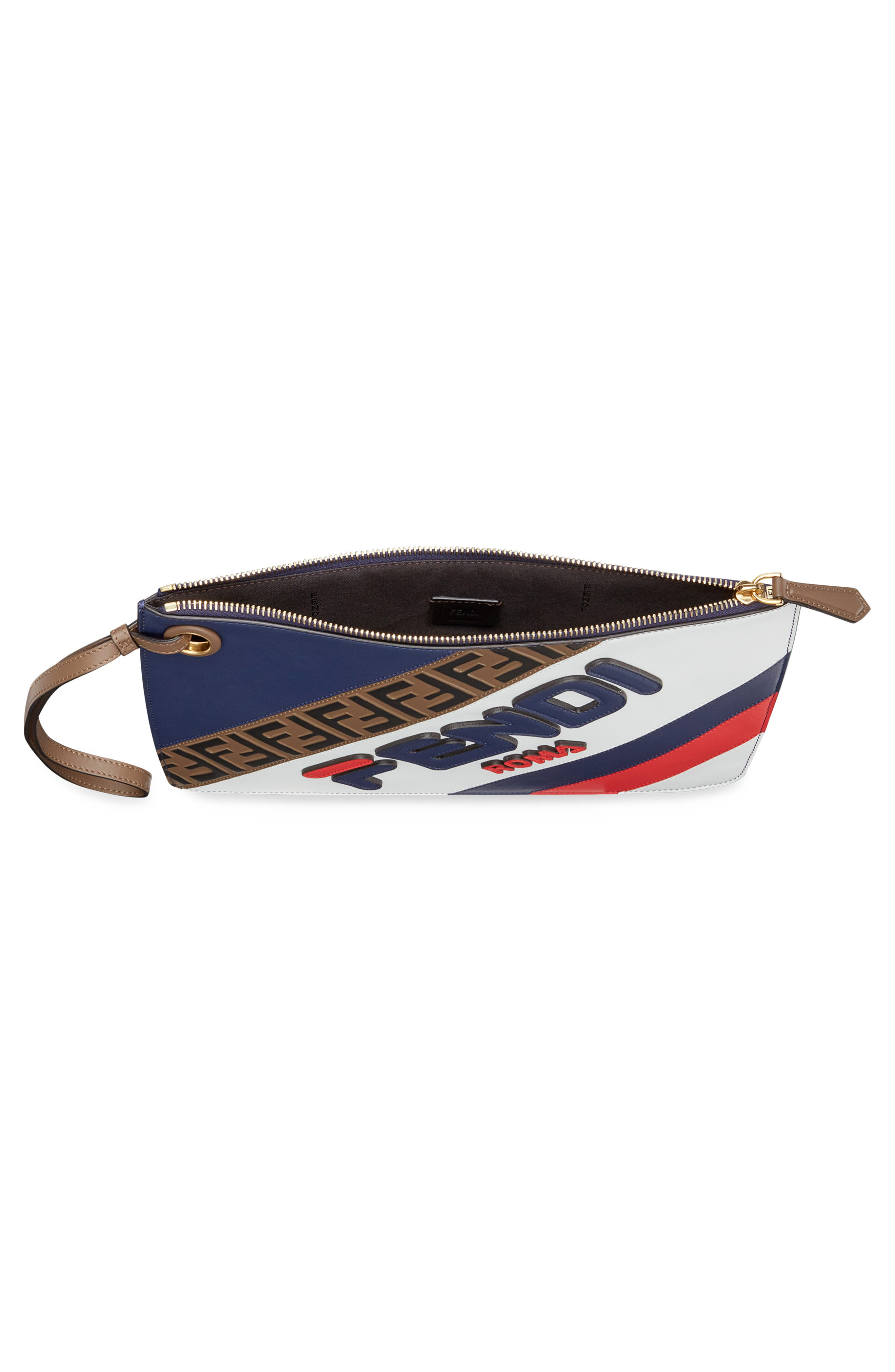 x FILA Medium Mania Logo Leather Clutch,                             Alternate thumbnail 3, color,                             BLUE/ BERRY MULTI