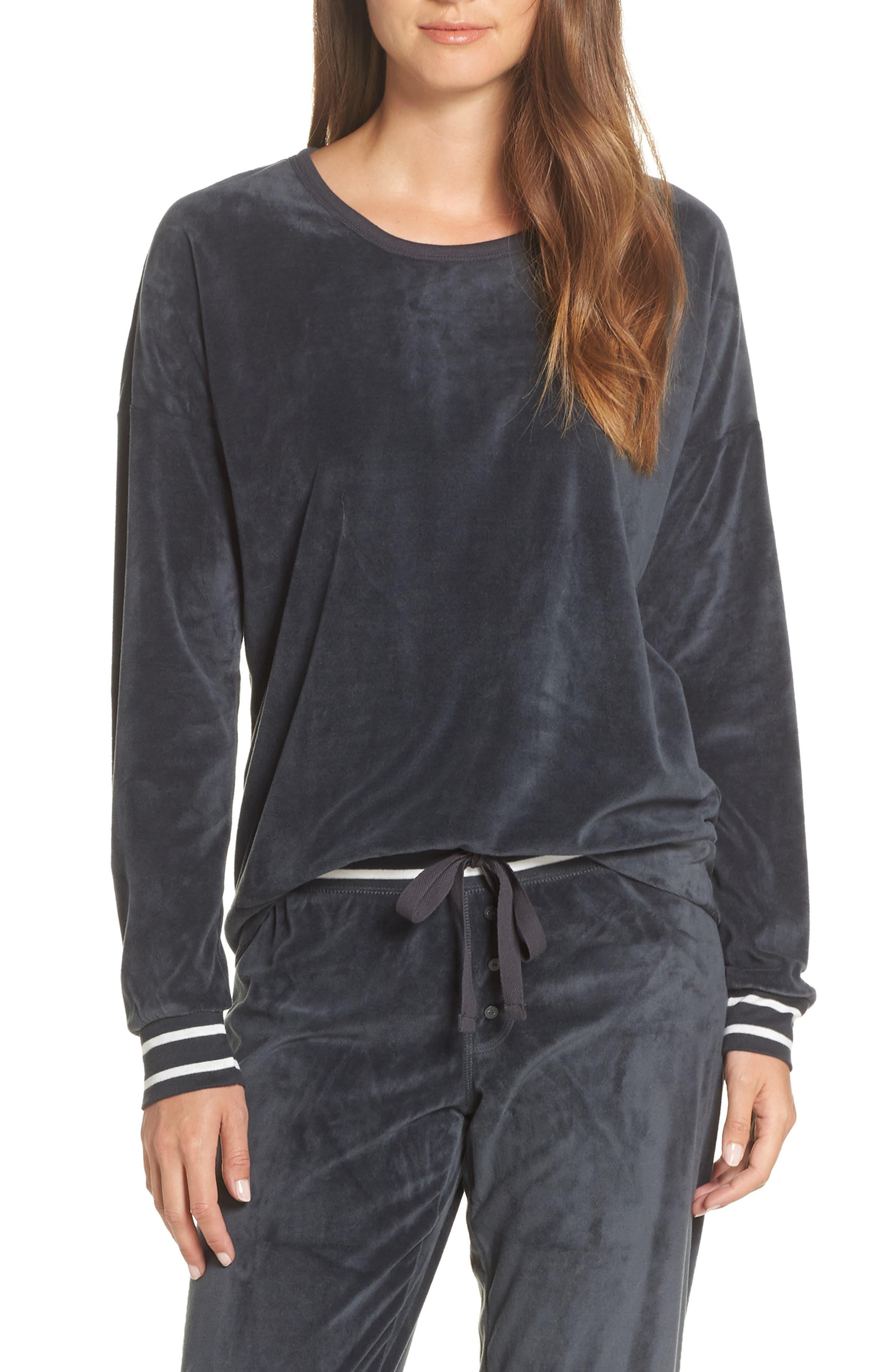 PJ SALVAGE Velour Pajama Top in Smoke