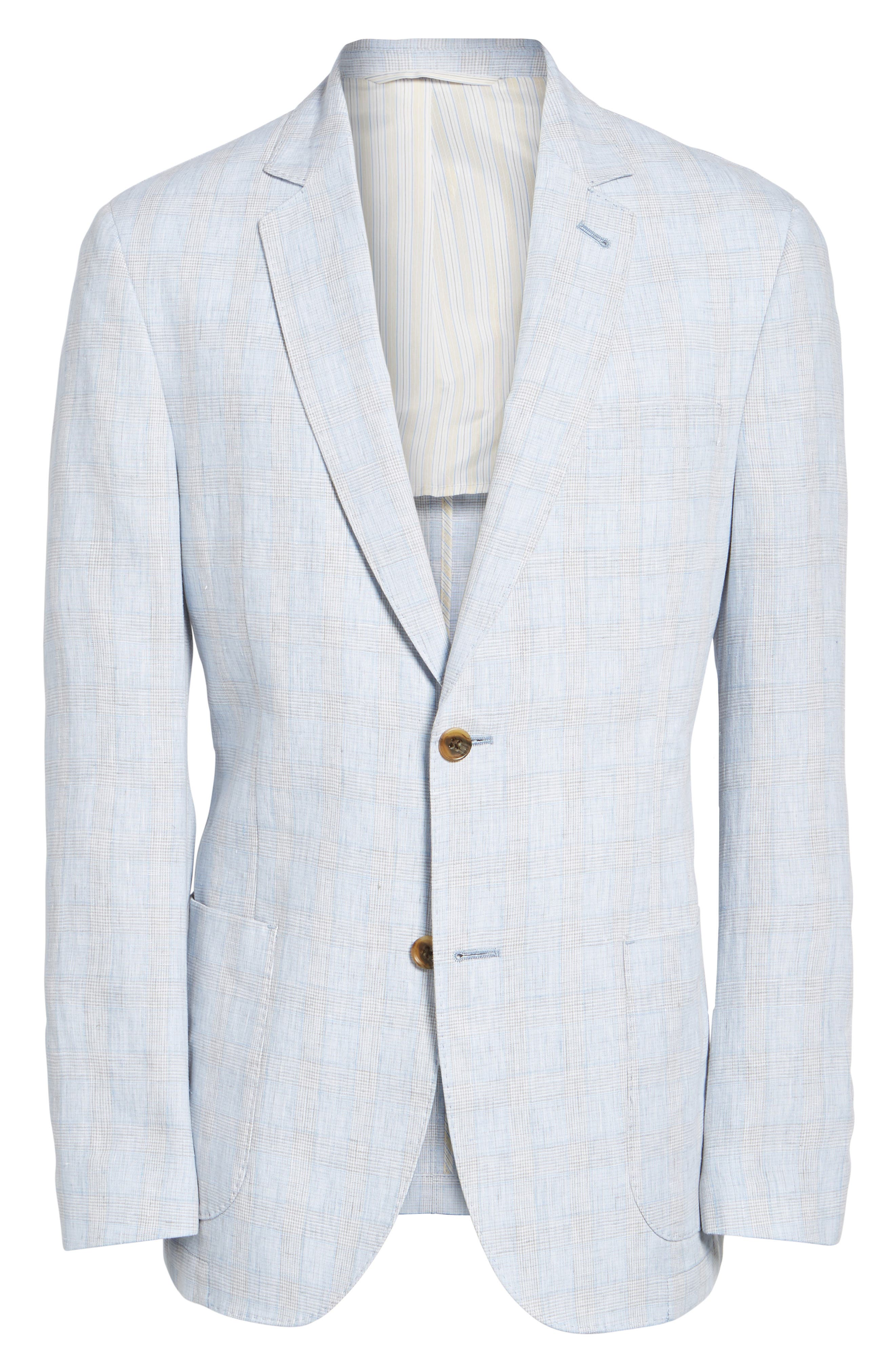 Glen Plaid Linen Sport Coat,                             Alternate thumbnail 5, color,