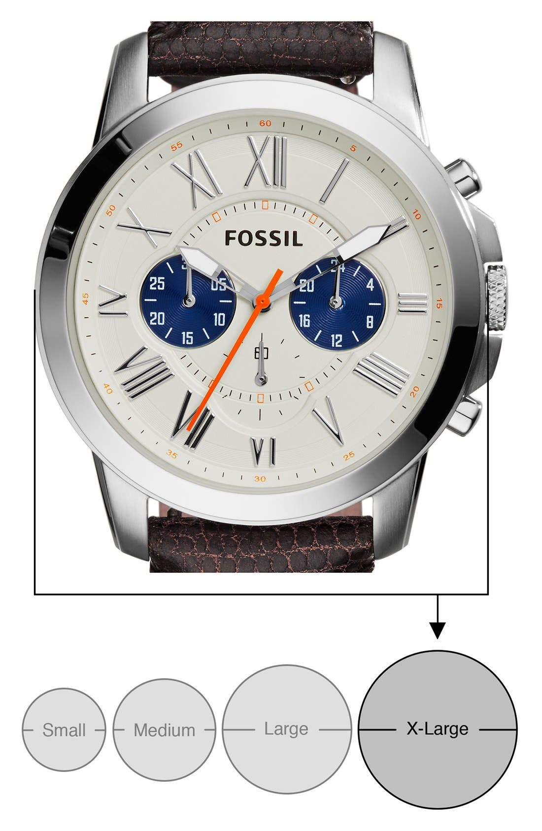 'Grant' Round Chronograph Leather Strap Watch, 44mm,                             Alternate thumbnail 46, color,