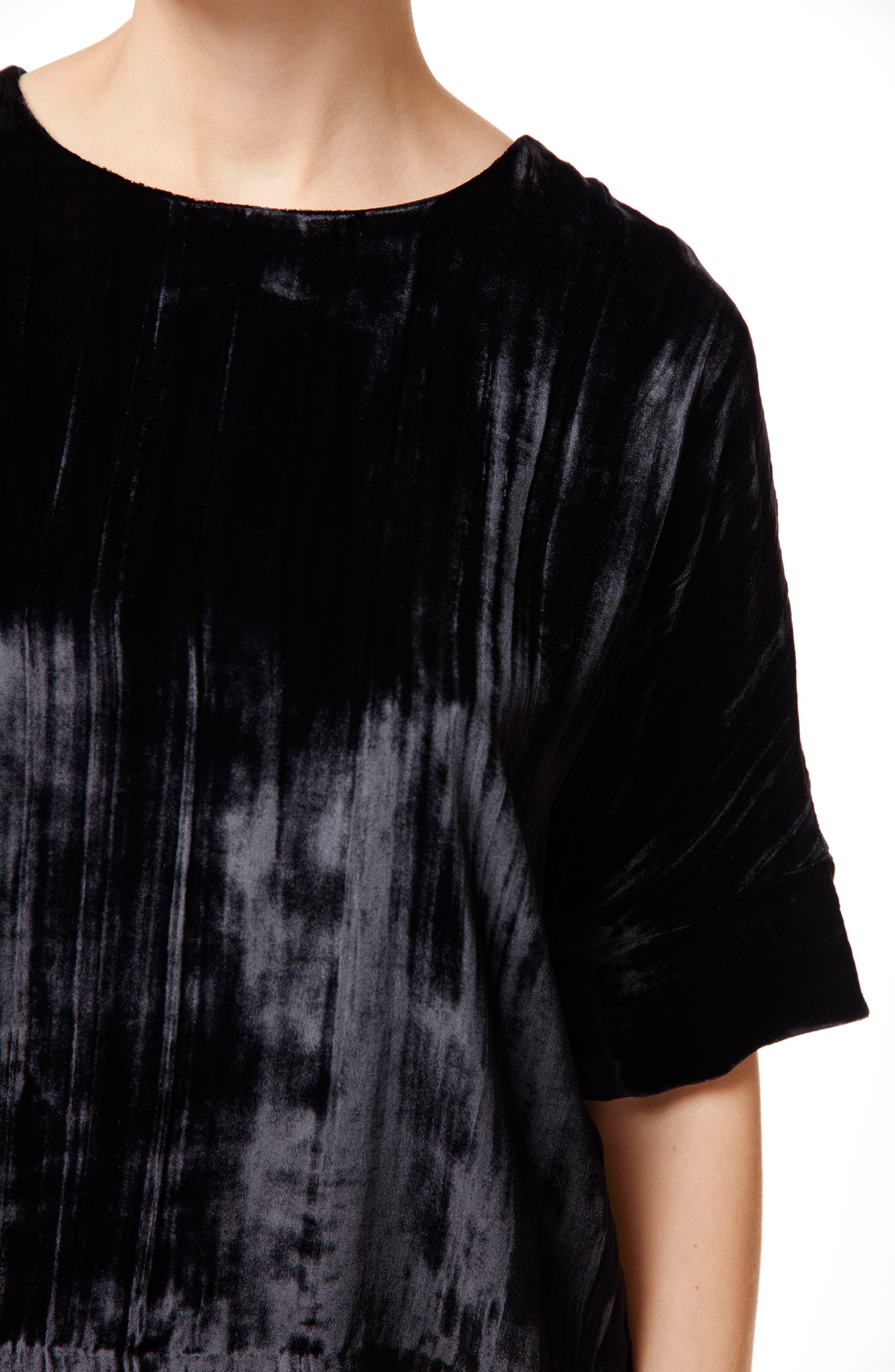 Daisy Velvet Top,                             Alternate thumbnail 4, color,                             BLACK