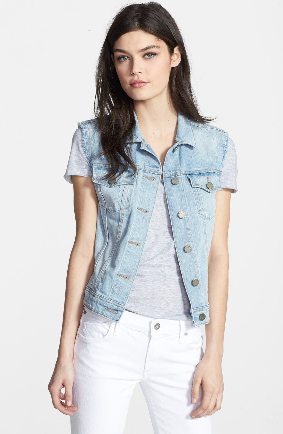 Denim Frayed Denim Vest,                         Main,                         color, 400