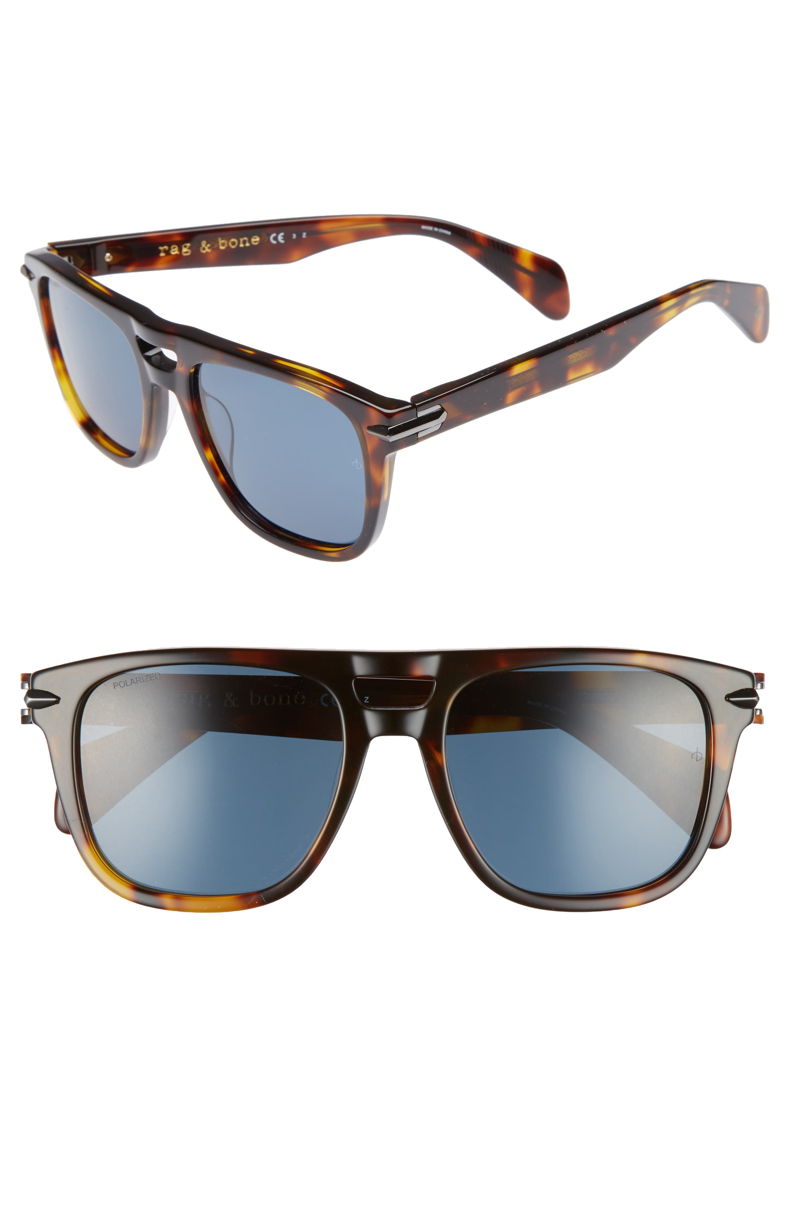 53mm Polarized Sunglasses,                             Main thumbnail 1, color,                             DARK HAVANA POLAR
