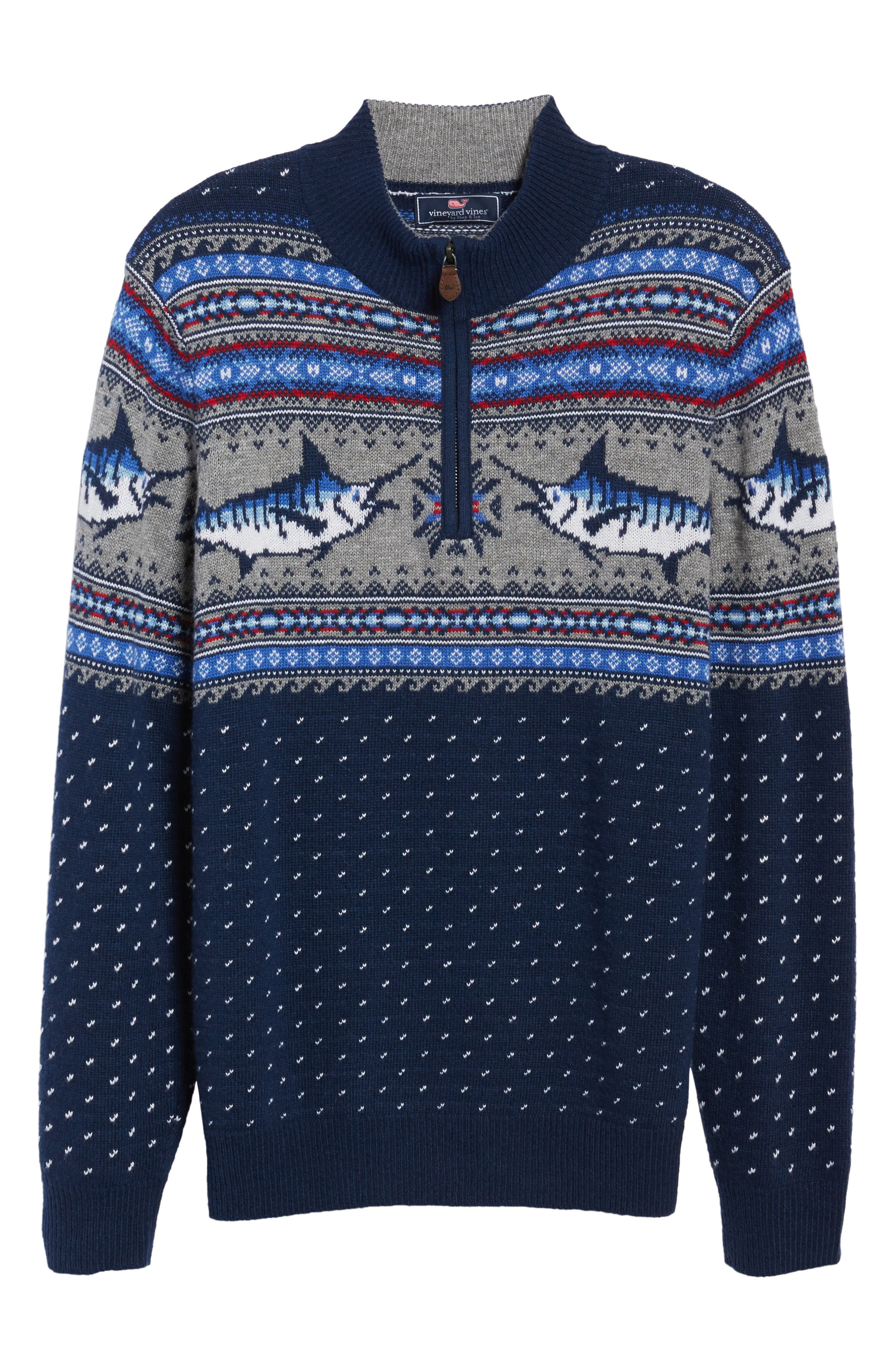 Marlin Fair Isle Quarter Zip Sweater,                             Alternate thumbnail 6, color,                             400