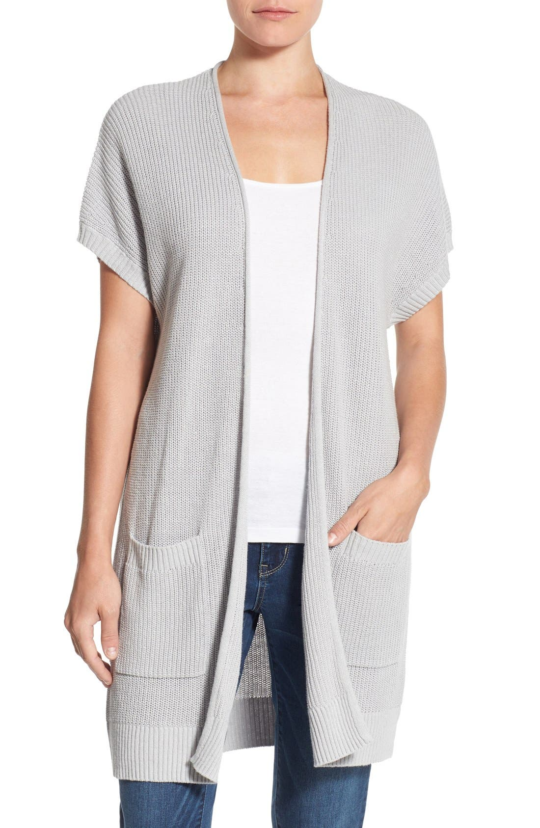 Shaker Stitch Open Front Cardigan,                             Main thumbnail 2, color,