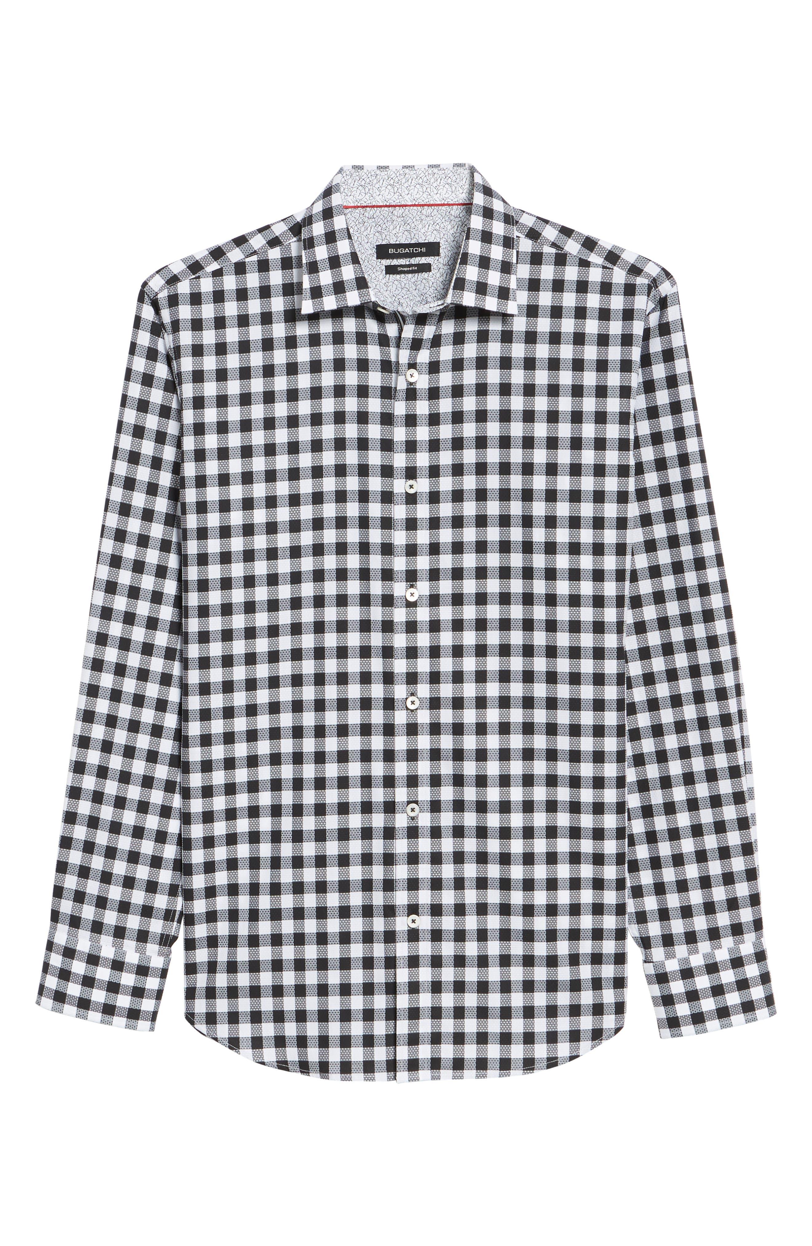 Shaped Fit Gingham Check Sport Shirt,                             Alternate thumbnail 6, color,                             BLACK