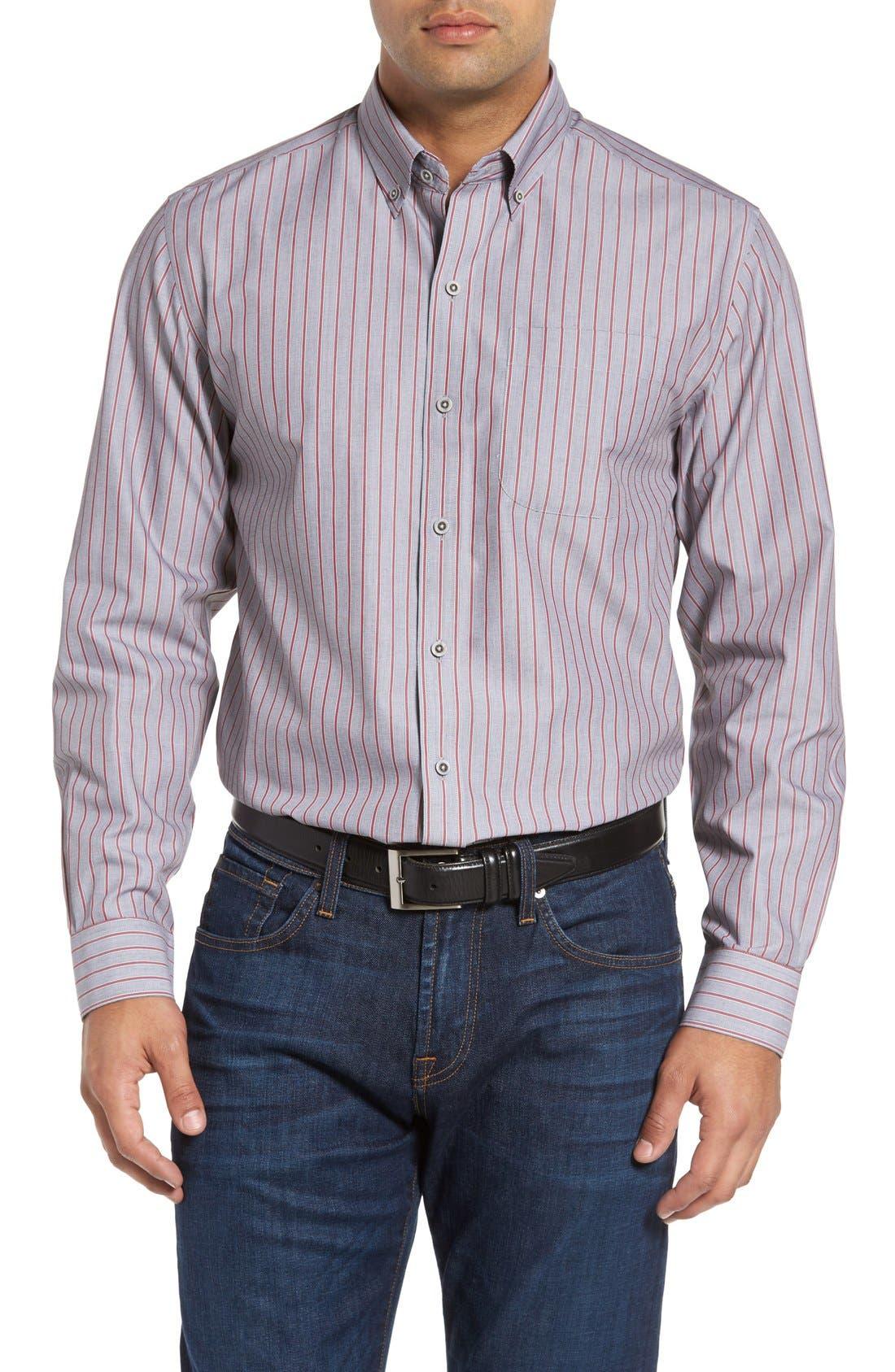 'Peak' Classic Fit Wrinkle Free Stripe Sport Shirt,                             Main thumbnail 1, color,                             020