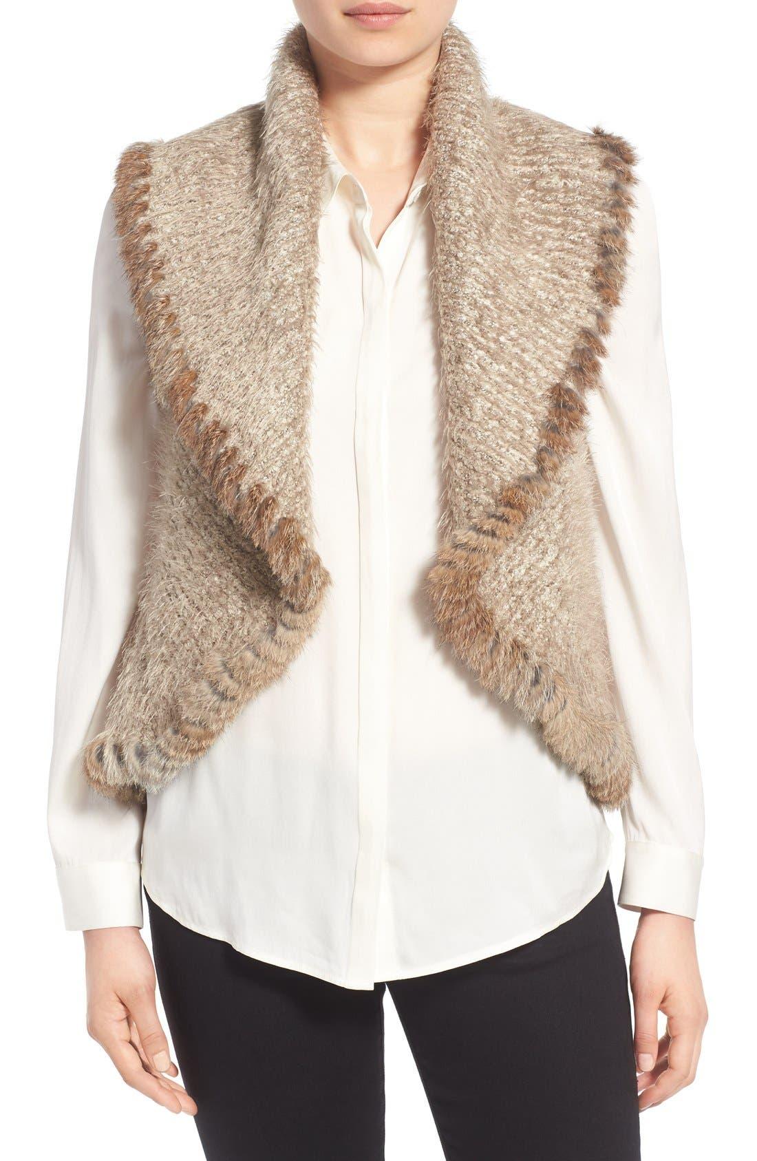 Knit Vest with Genuine Rabbit Fur Trim,                             Main thumbnail 2, color,