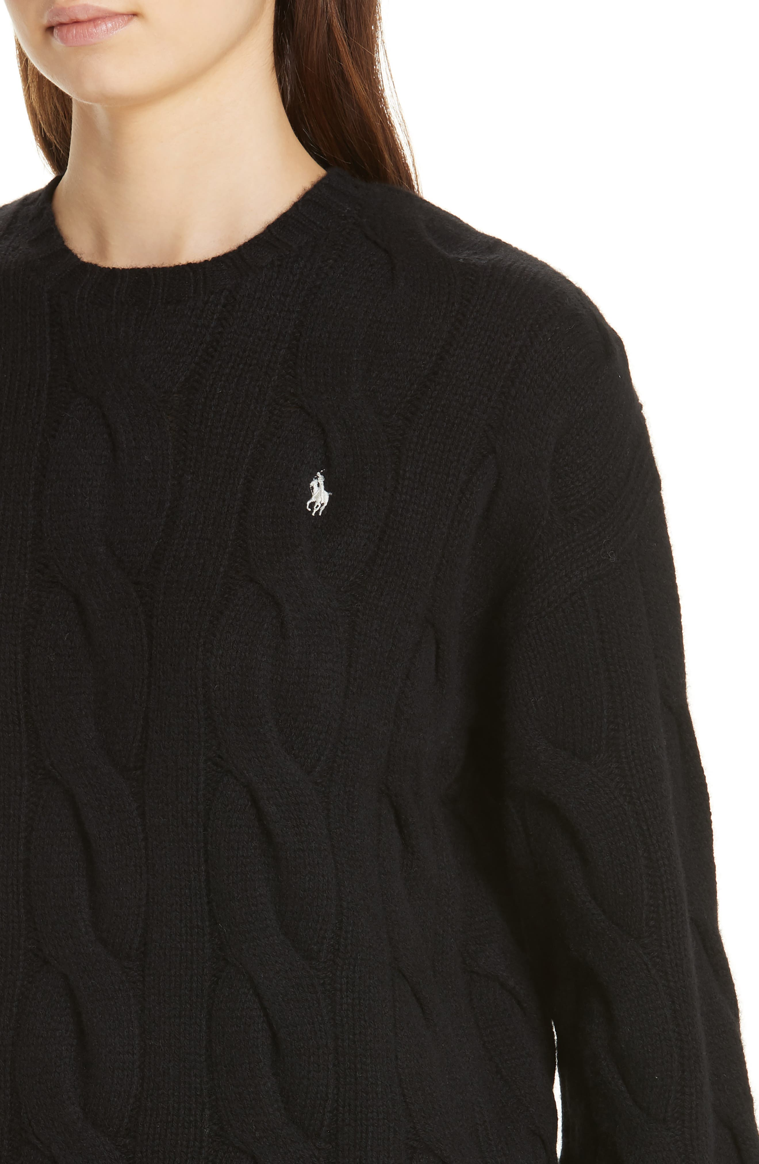 Dolman Sleeve Cable Knit Sweater,                             Alternate thumbnail 4, color,                             POLO BLACK