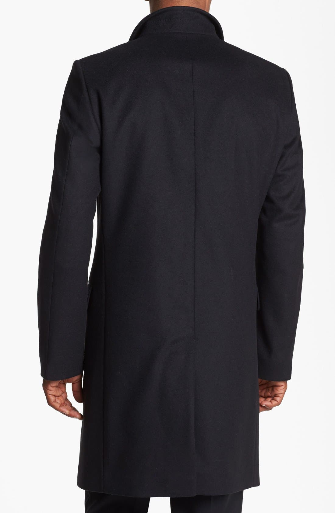 BOSS HUGO BOSS 'Sintrax' Wool Blend Coat,                             Alternate thumbnail 4, color,                             001