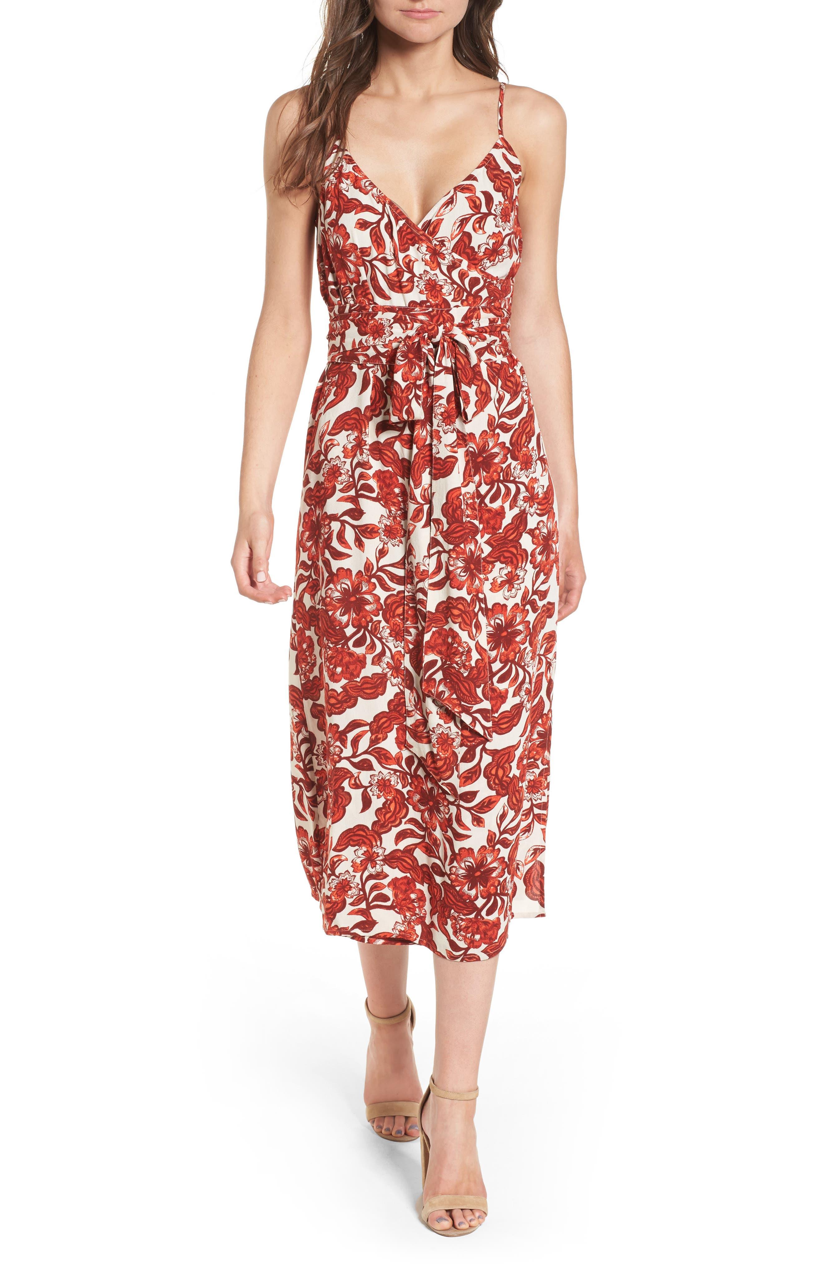 Midi Wrap Dress,                             Main thumbnail 1, color,                             RED LAVA SNAP FLORAL