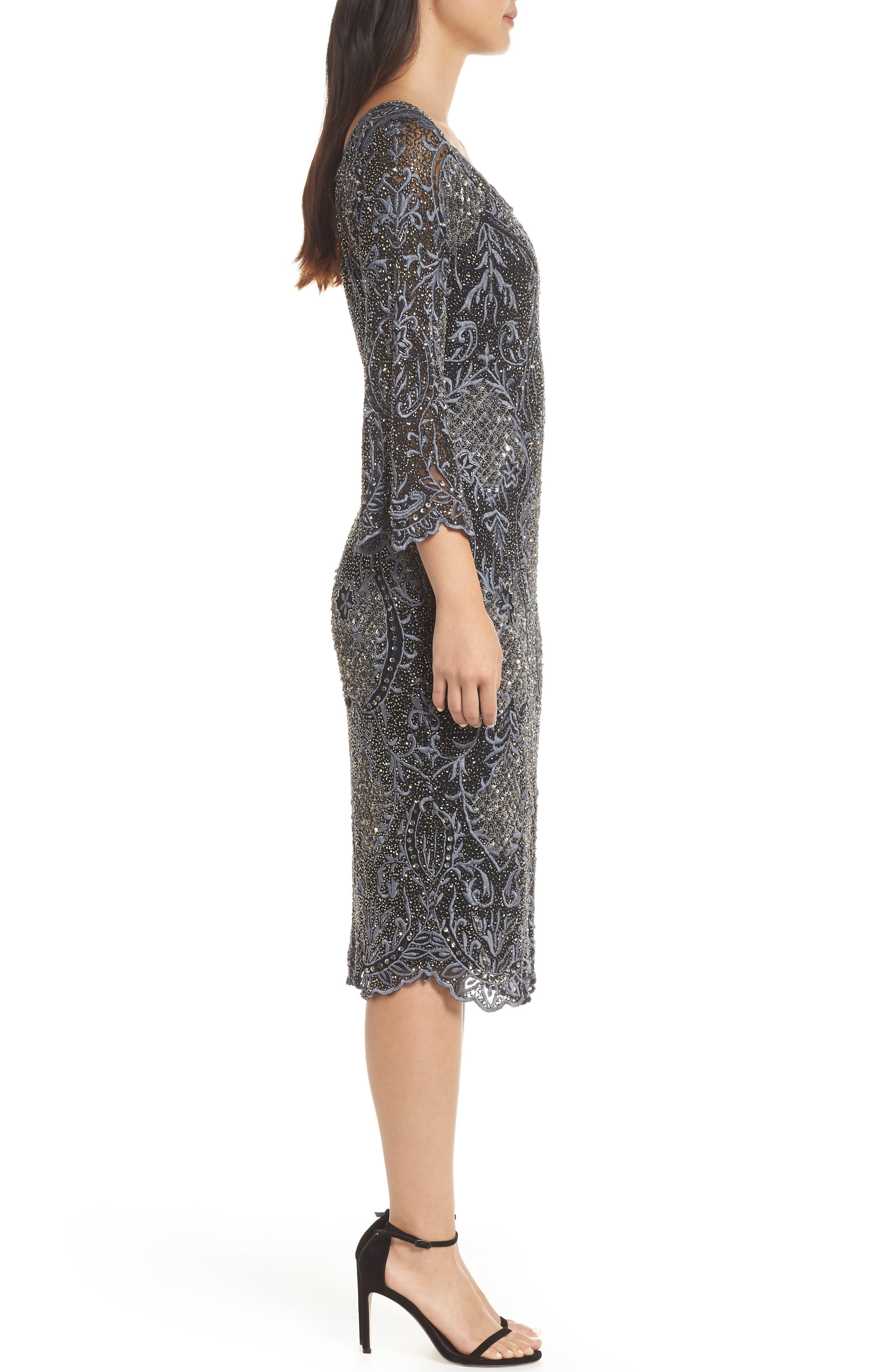 Embroidered Scallop Edge Midi Sheath Dress,                             Alternate thumbnail 3, color,                             BLACK