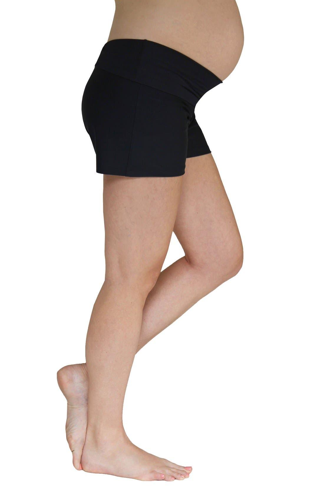 Foldover Maternity Swim Shorts,                             Main thumbnail 1, color,                             BLACK