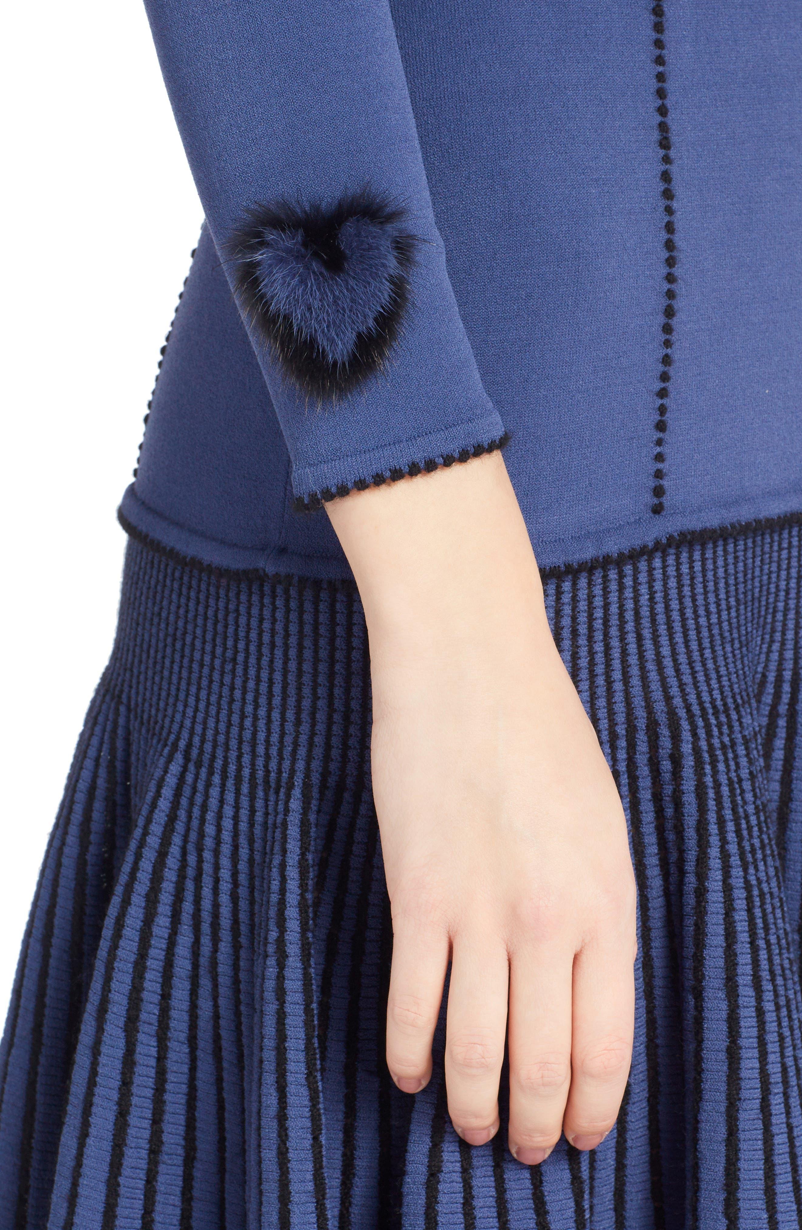 Knit Drop Waist Dress with Genuine Mink Fur Trim,                             Alternate thumbnail 4, color,                             BLUE