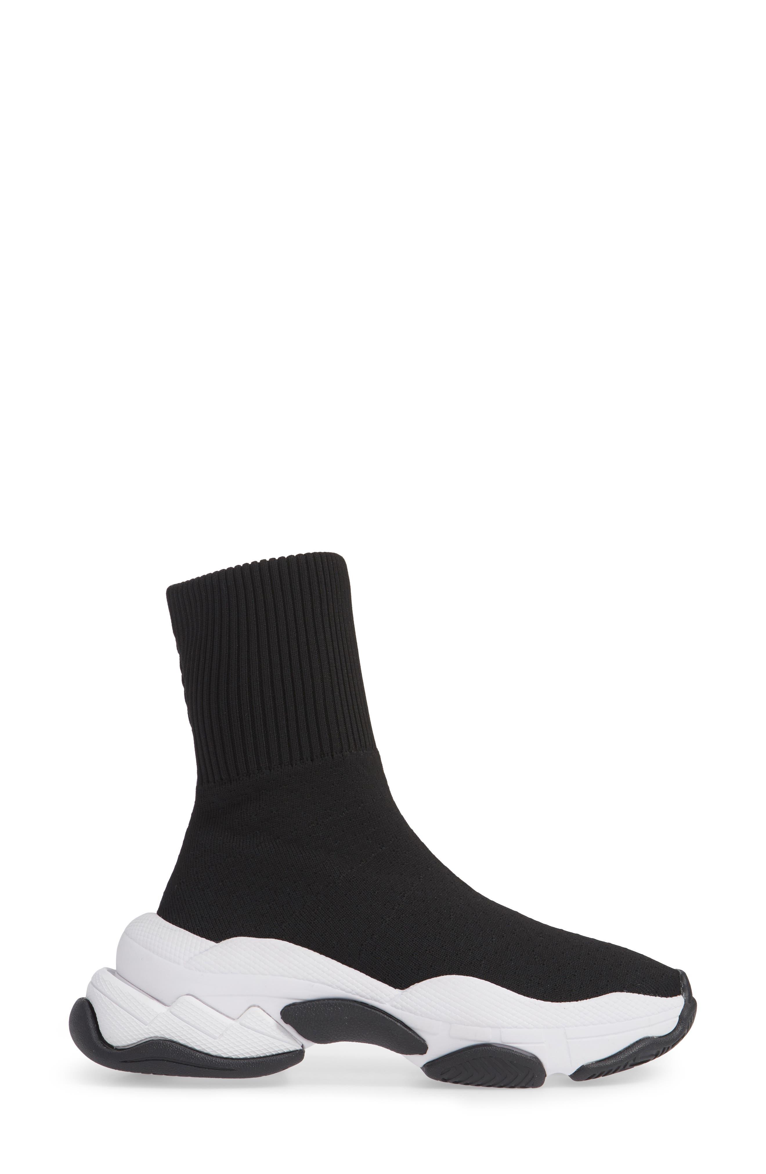 Tenko Ankle High Top Sock Sneaker,                             Alternate thumbnail 3, color,                             BLACK