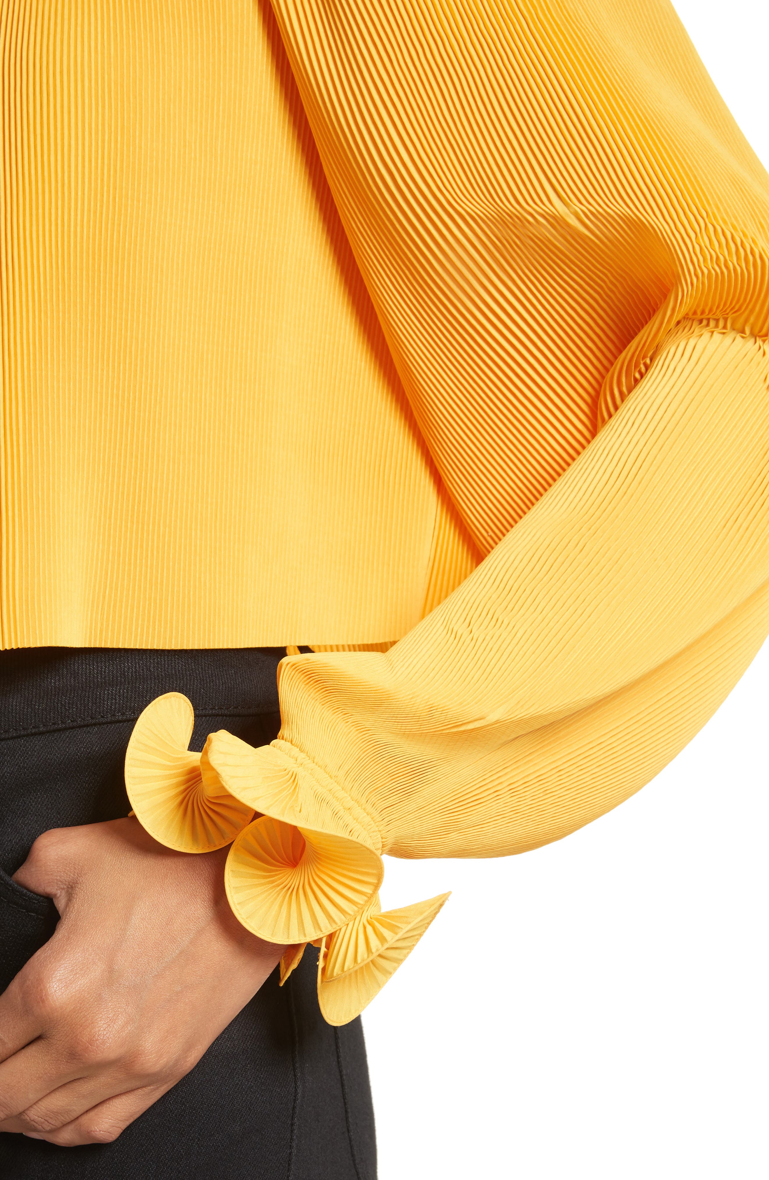 Pleated Crop Top,                             Alternate thumbnail 17, color,