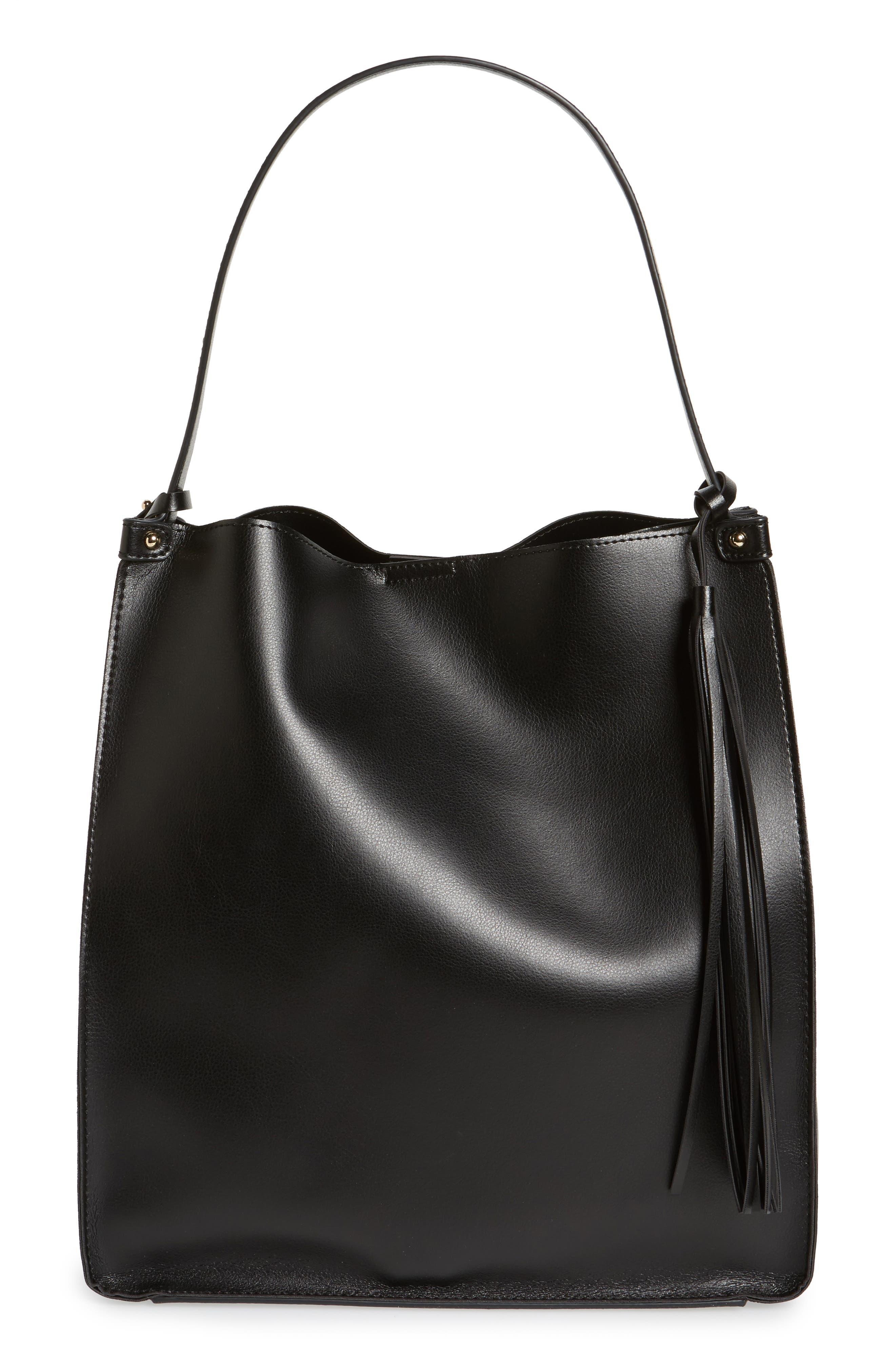 Karlie Faux Leather Bucket Bag,                             Main thumbnail 1, color,                             001