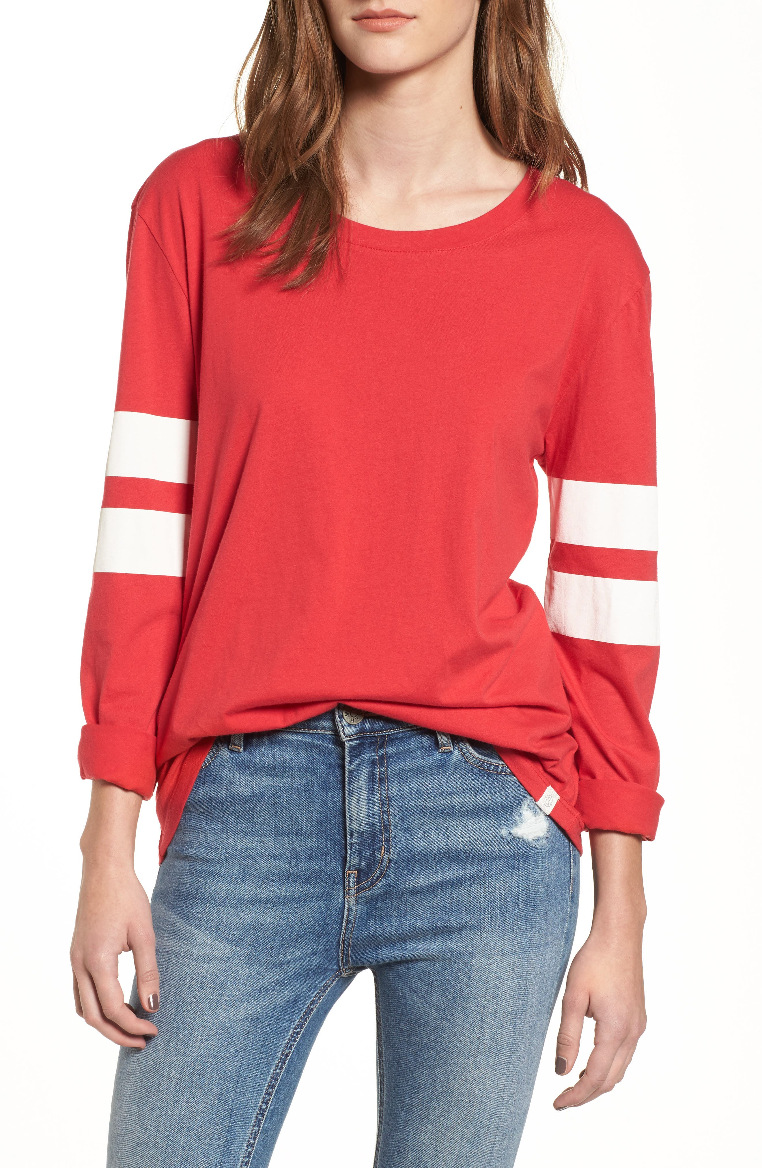 Varsity Stripe Cotton Tee,                             Main thumbnail 15, color,