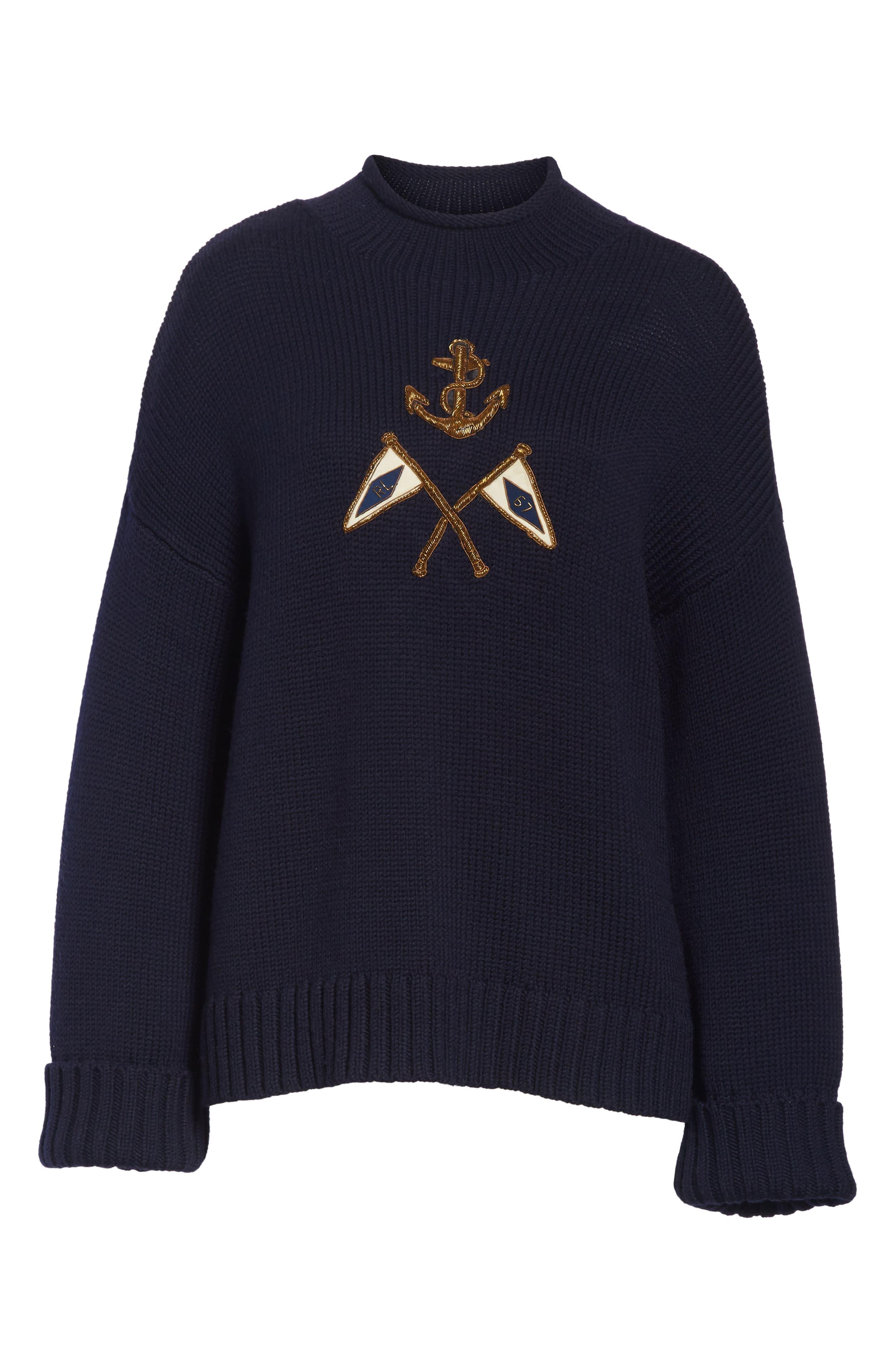 Crest Logo Wool Sweater,                             Alternate thumbnail 6, color,                             NAVY