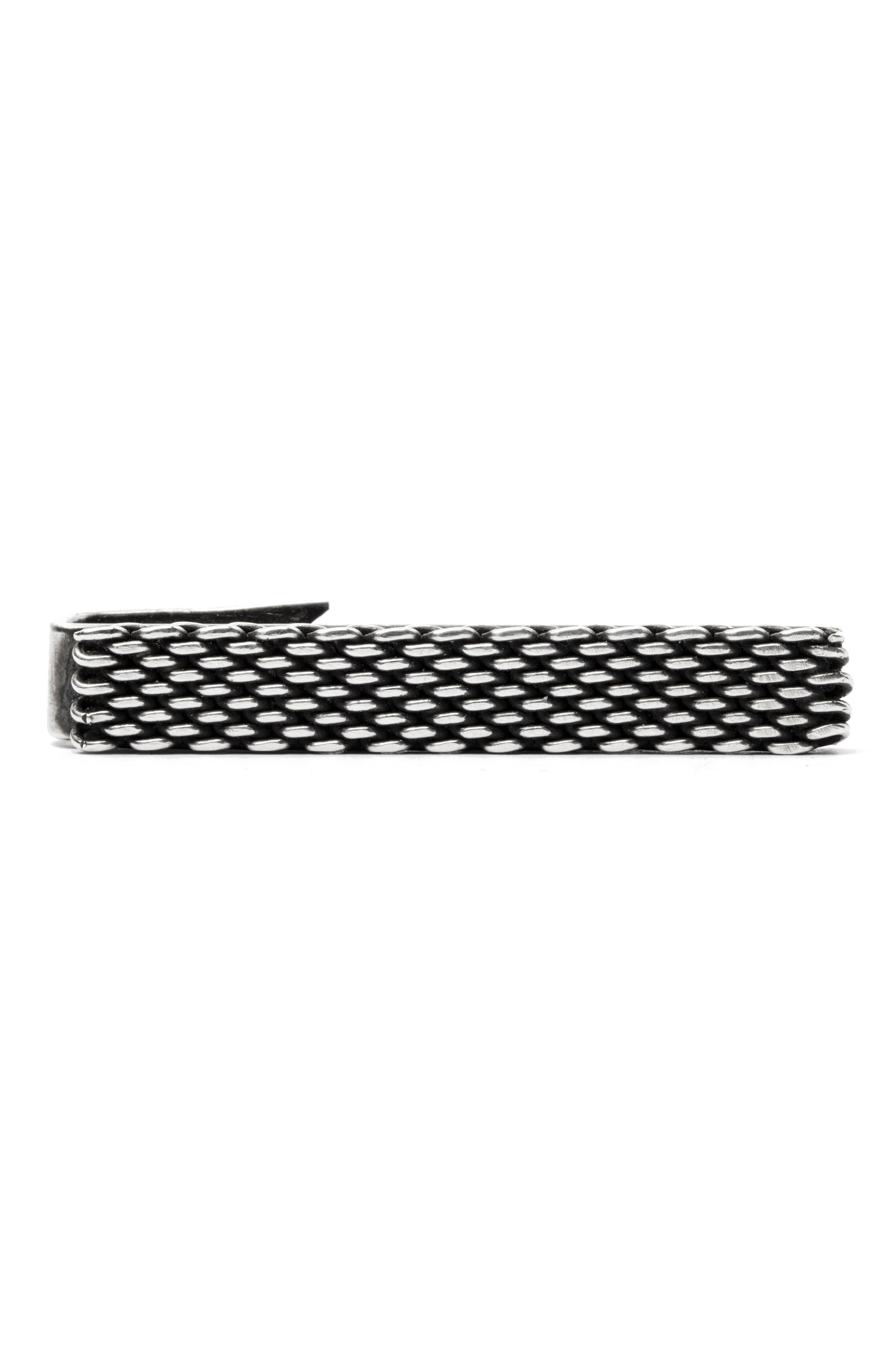 Mesh Band Tie Clip,                         Main,                         color, SILVER