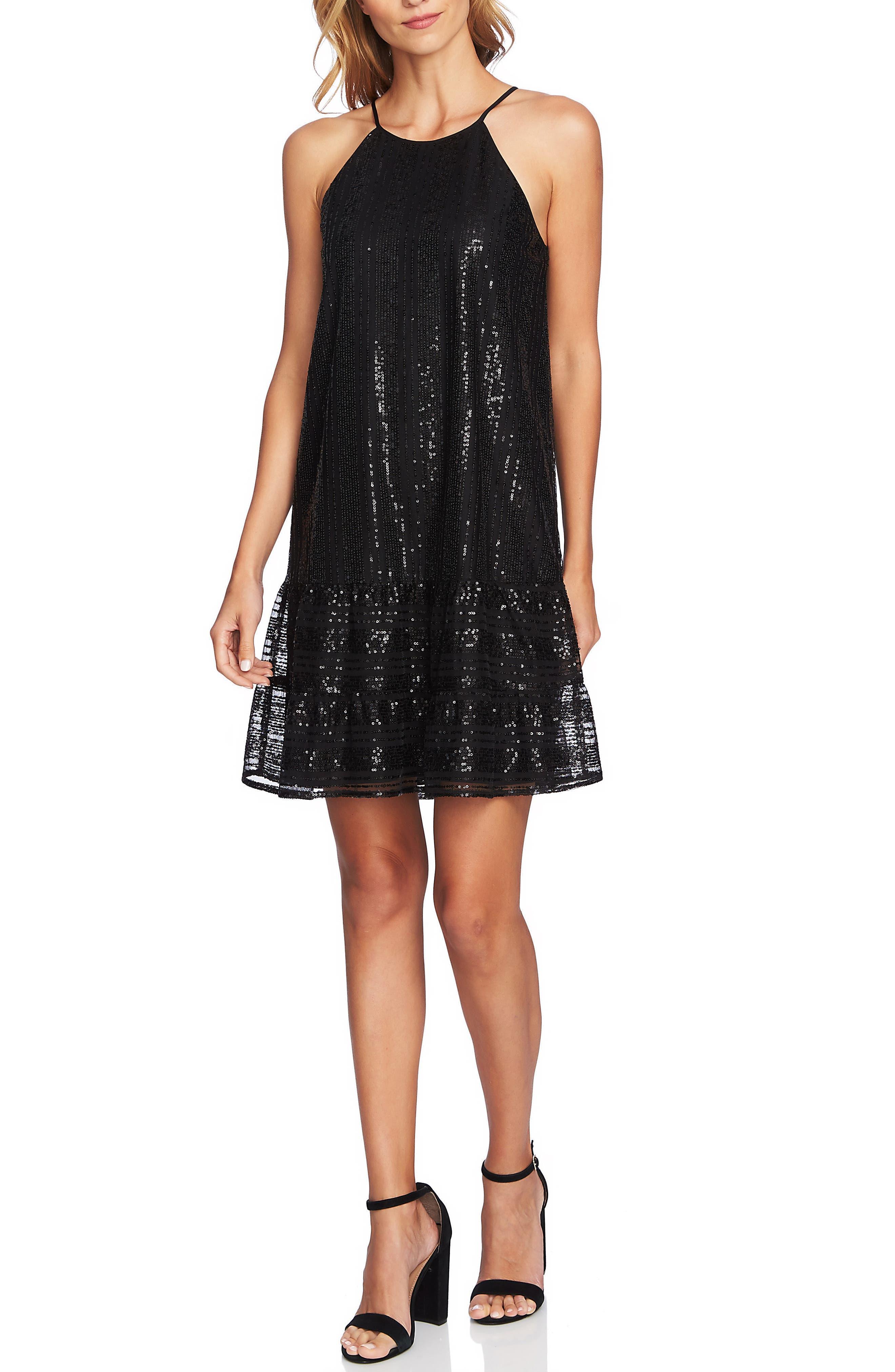 Sequin Ruffle Trim Dress,                             Alternate thumbnail 4, color,                             RICH BLACK