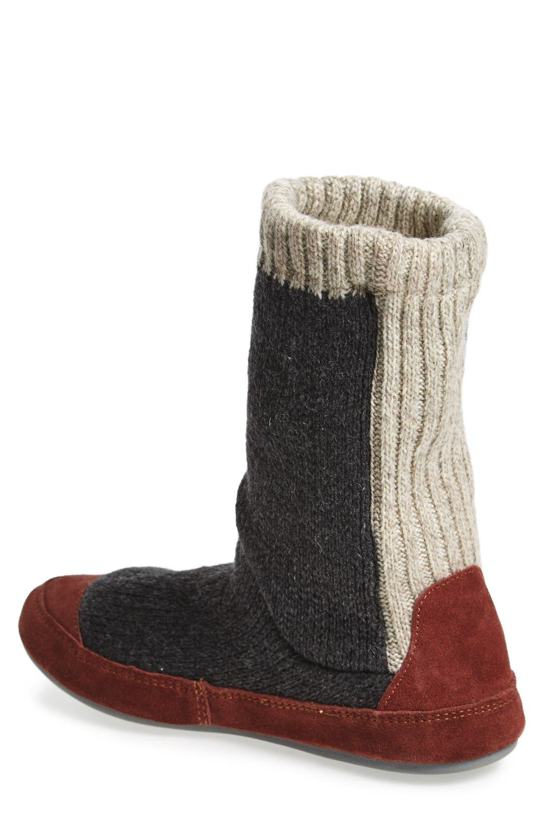 'Slouch Boot' Slipper,                             Alternate thumbnail 5, color,                             CHARCOAL RAGG WOOL