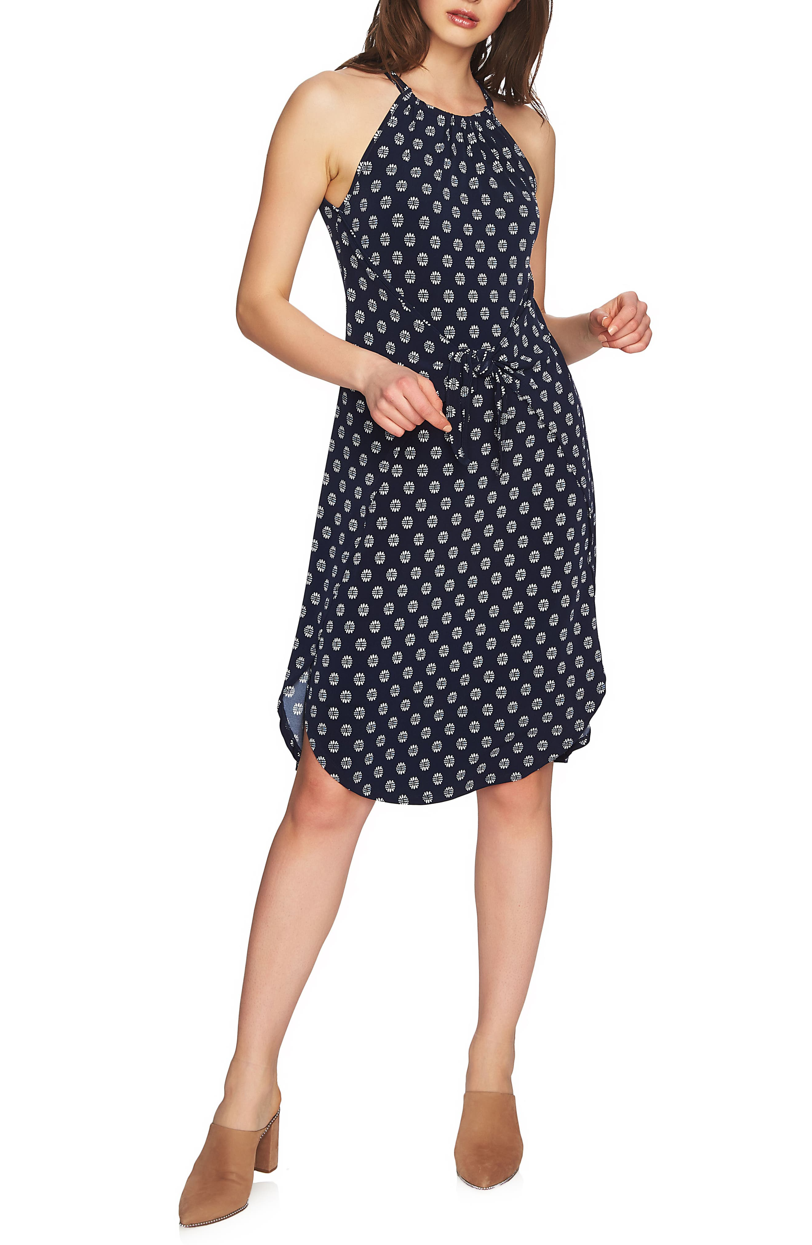 Tie Front Halter Style Dress,                         Main,                         color, NIGHT NAVY