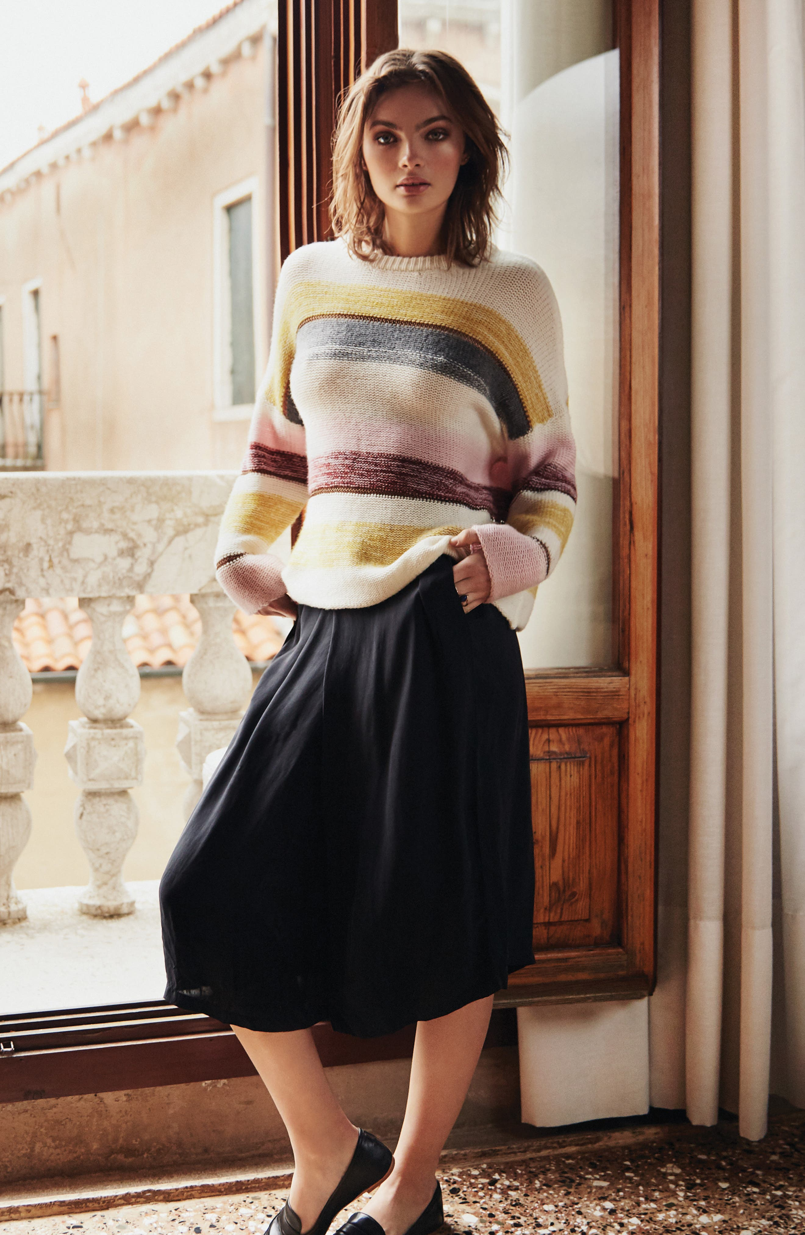 Daphne Stripe Wool & Cashmere Sweater,                             Alternate thumbnail 7, color,                             672