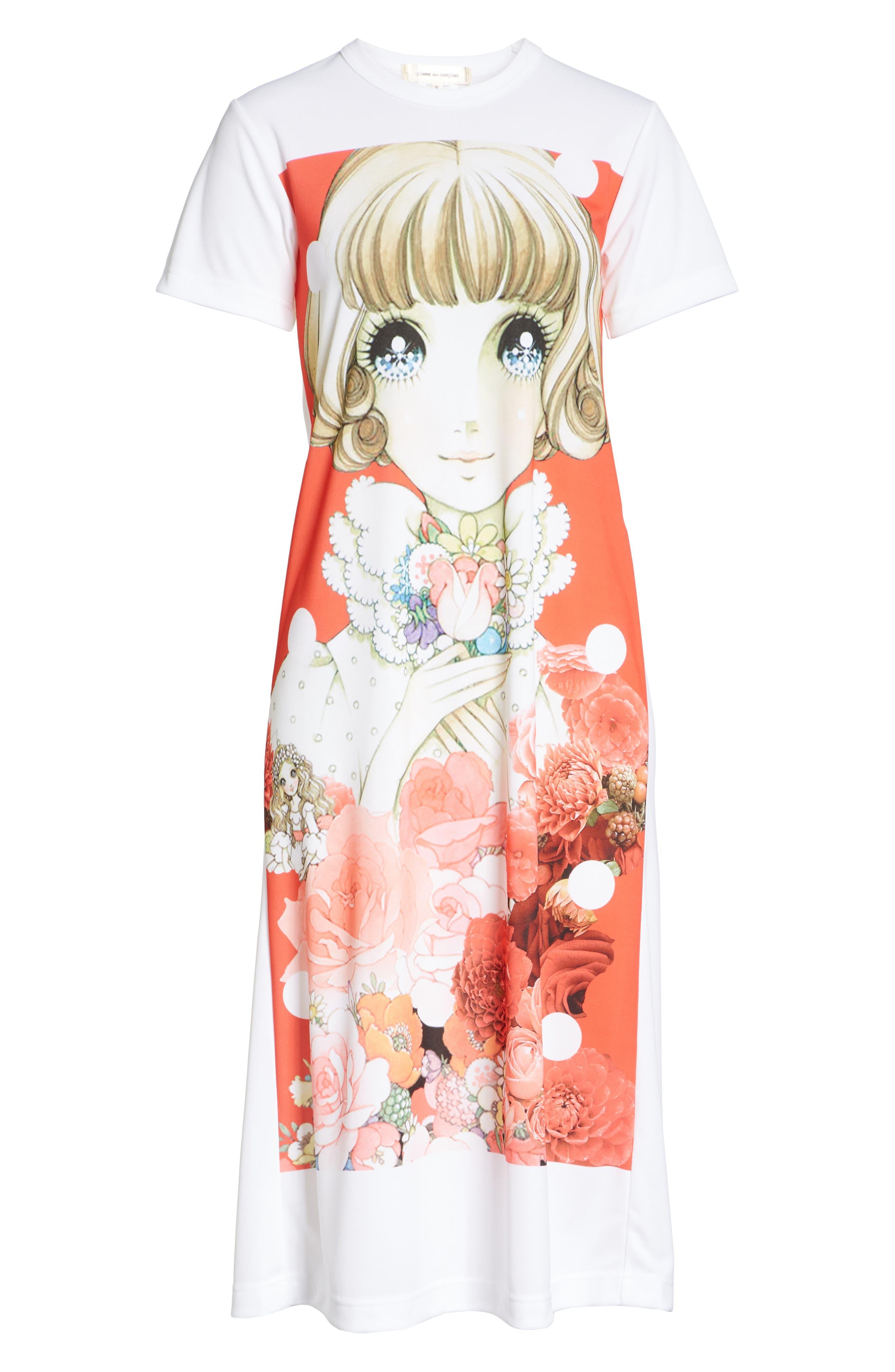 Manga Print T-Shirt Dress,                             Alternate thumbnail 6, color,                             100