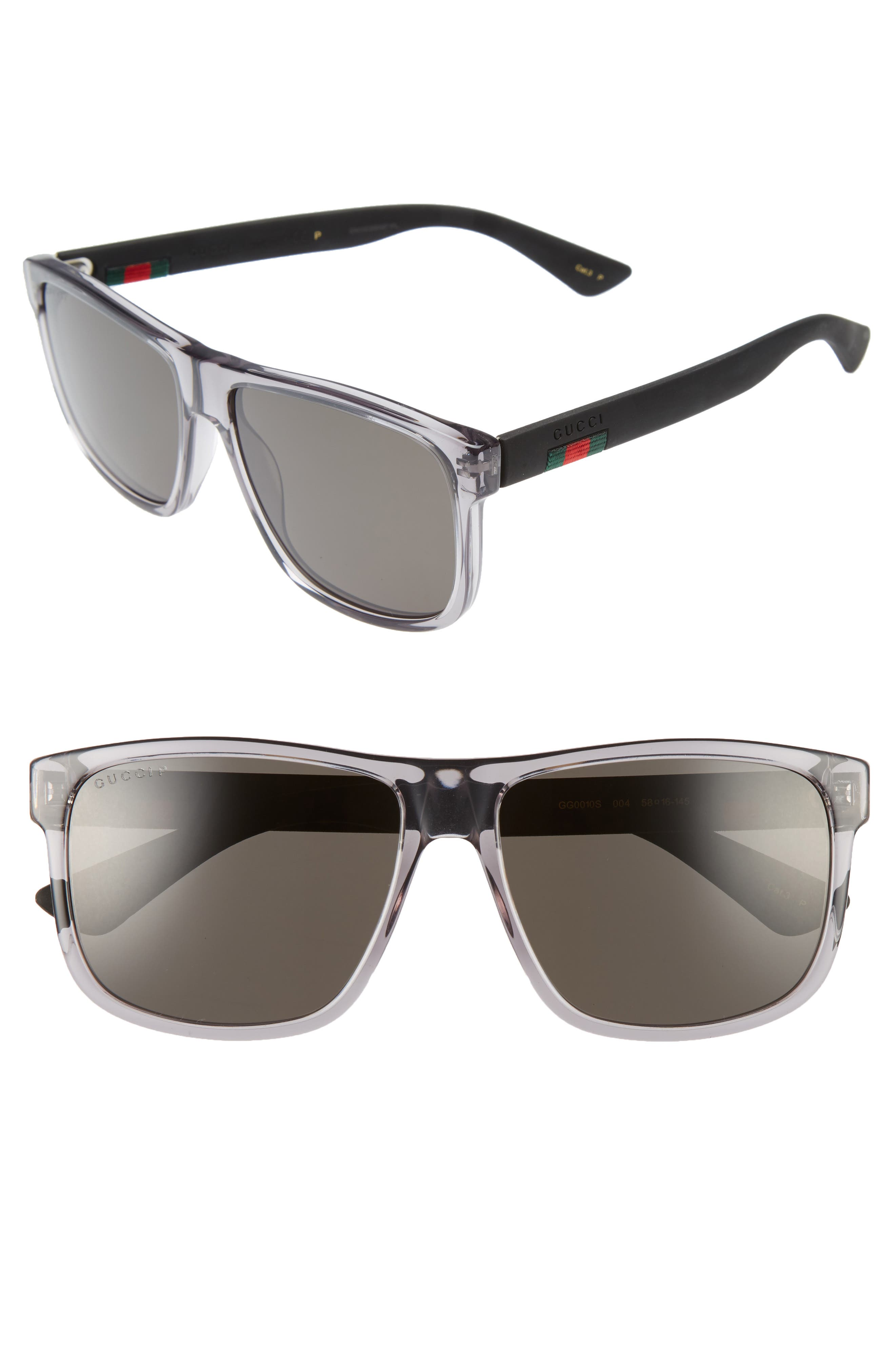 GUCCI,                             58mm Polarized Sunglasses,                             Main thumbnail 1, color,                             TRANSPARENT GREY W/ GREY PLR