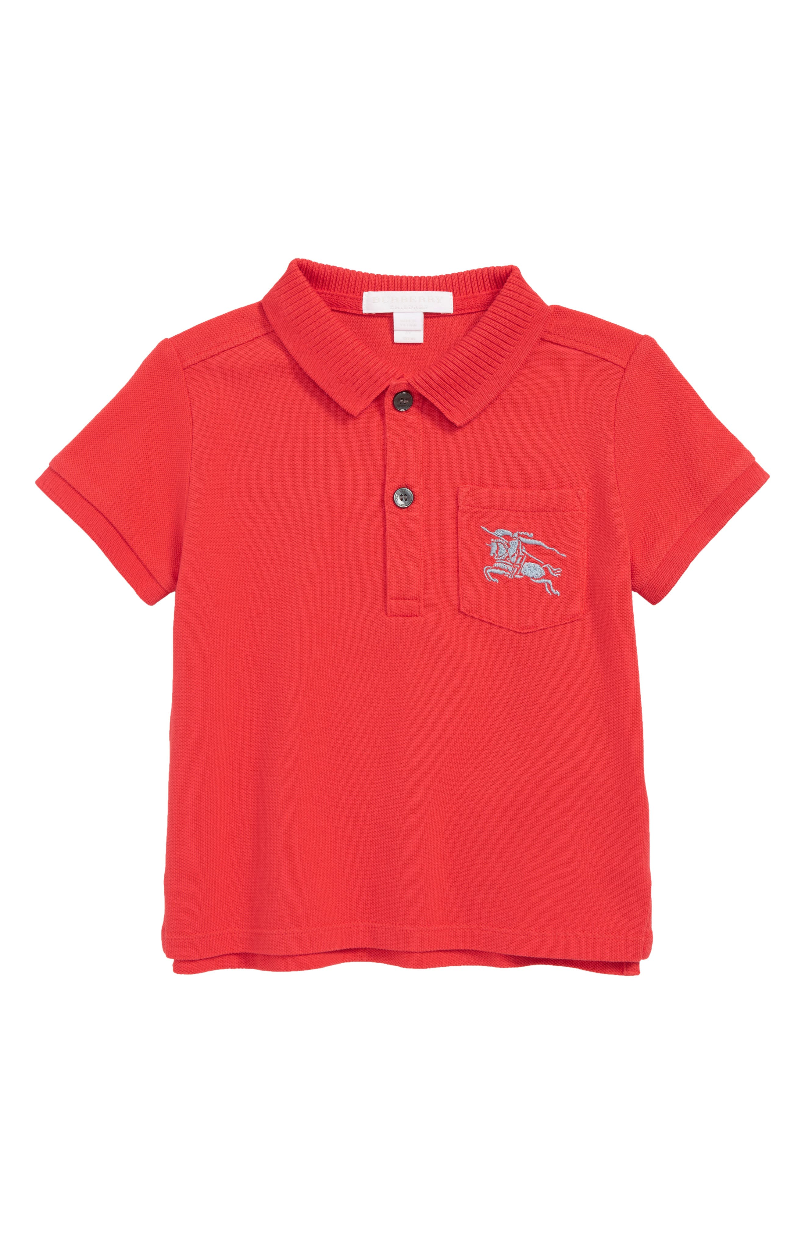 BURBERRY,                             Grant Polo,                             Main thumbnail 1, color,                             BRIGHT RED