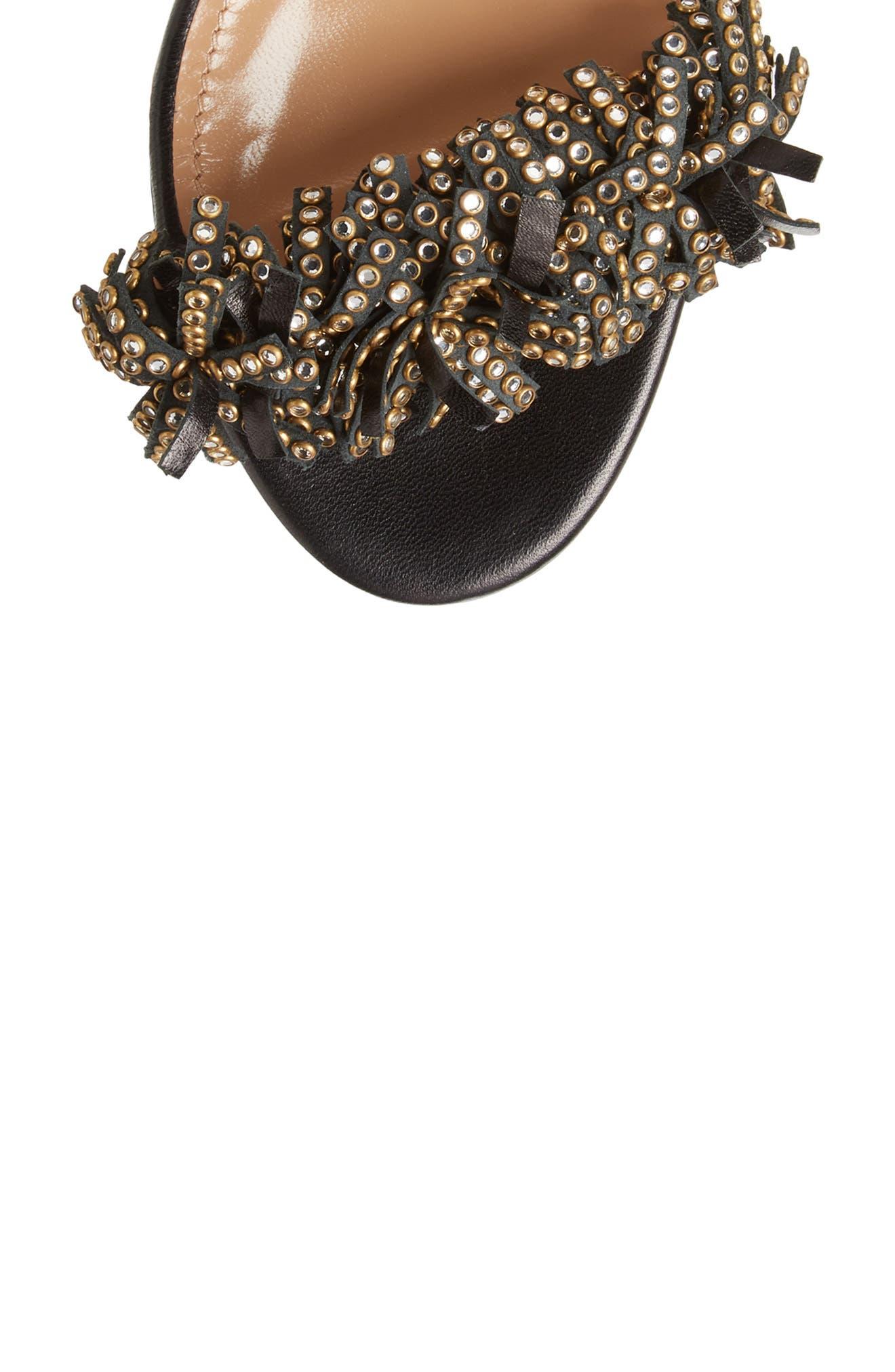Wild Crystal Fringe Sandal,                             Alternate thumbnail 5, color,                             BLACK