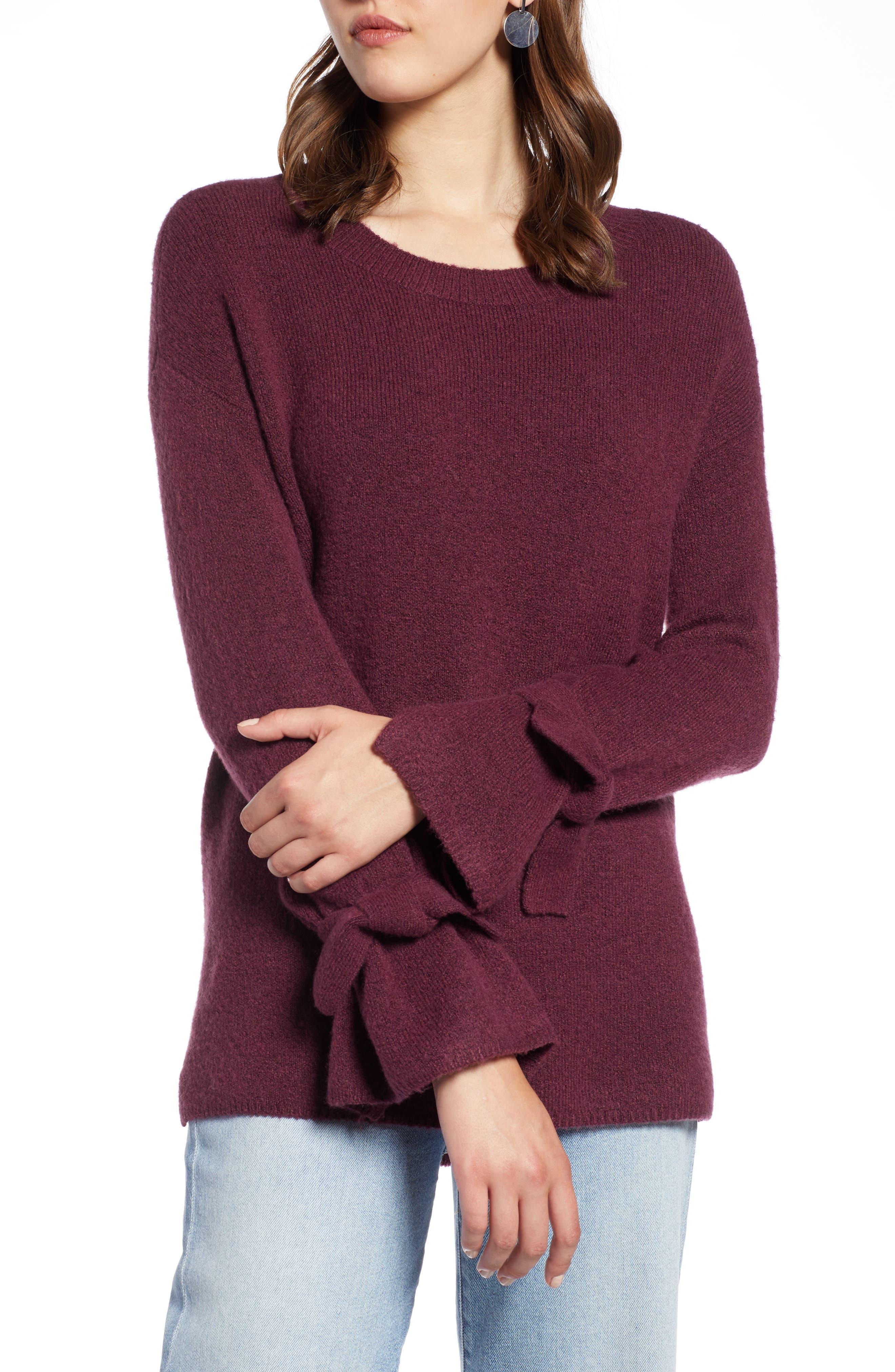 Halogen Tie Sleeve Wool Blend Sweater, Burgundy