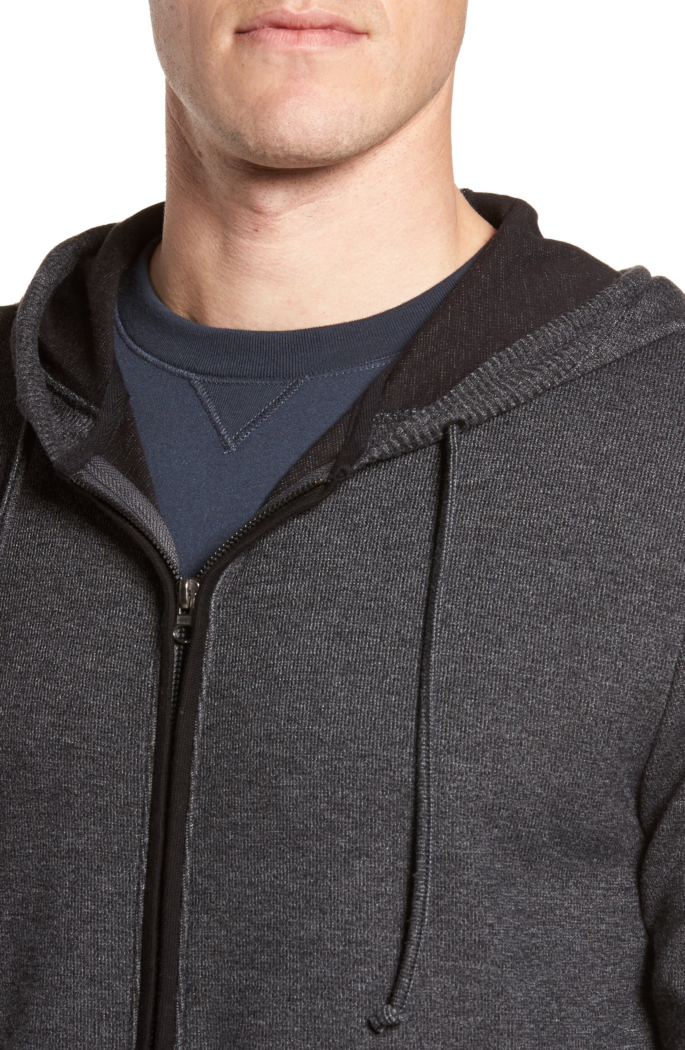 Snare Zip Front Hooded Cardigan,                             Alternate thumbnail 4, color,                             001