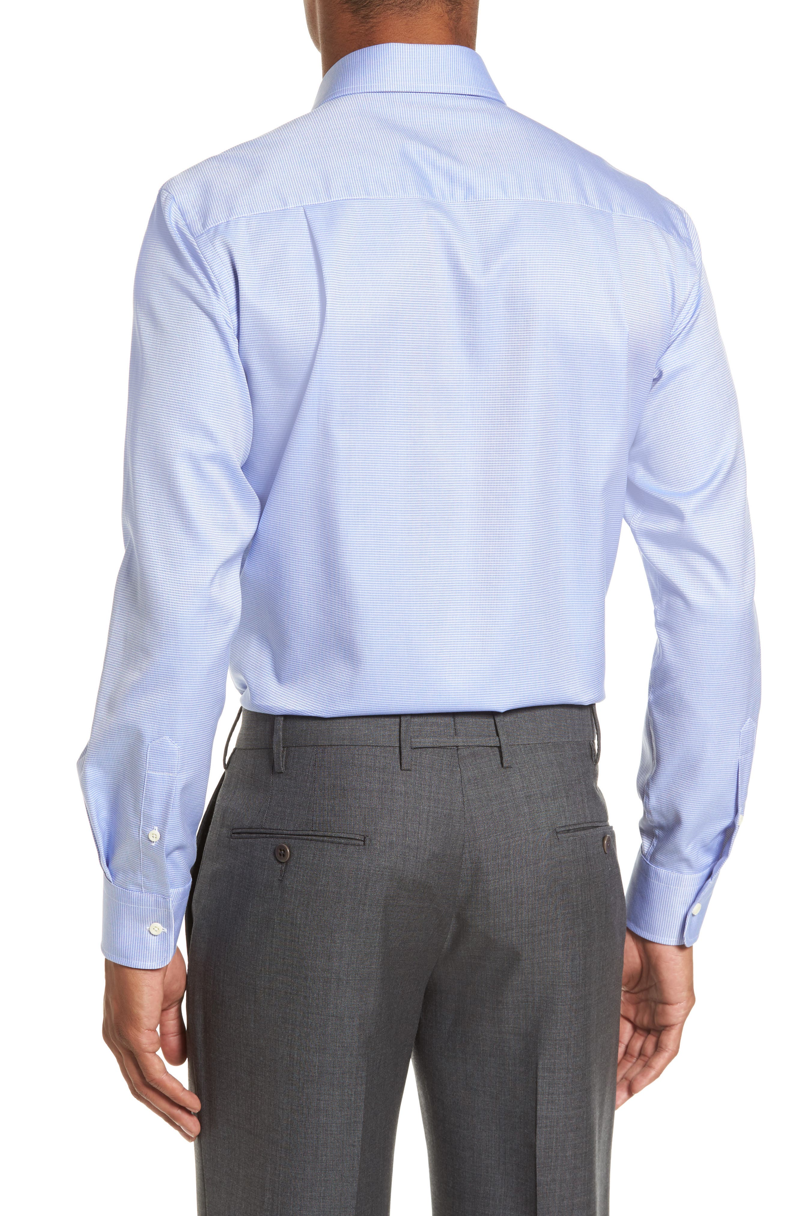 Trim Fit Microcheck Dress Shirt,                             Alternate thumbnail 2, color,                             BLUE