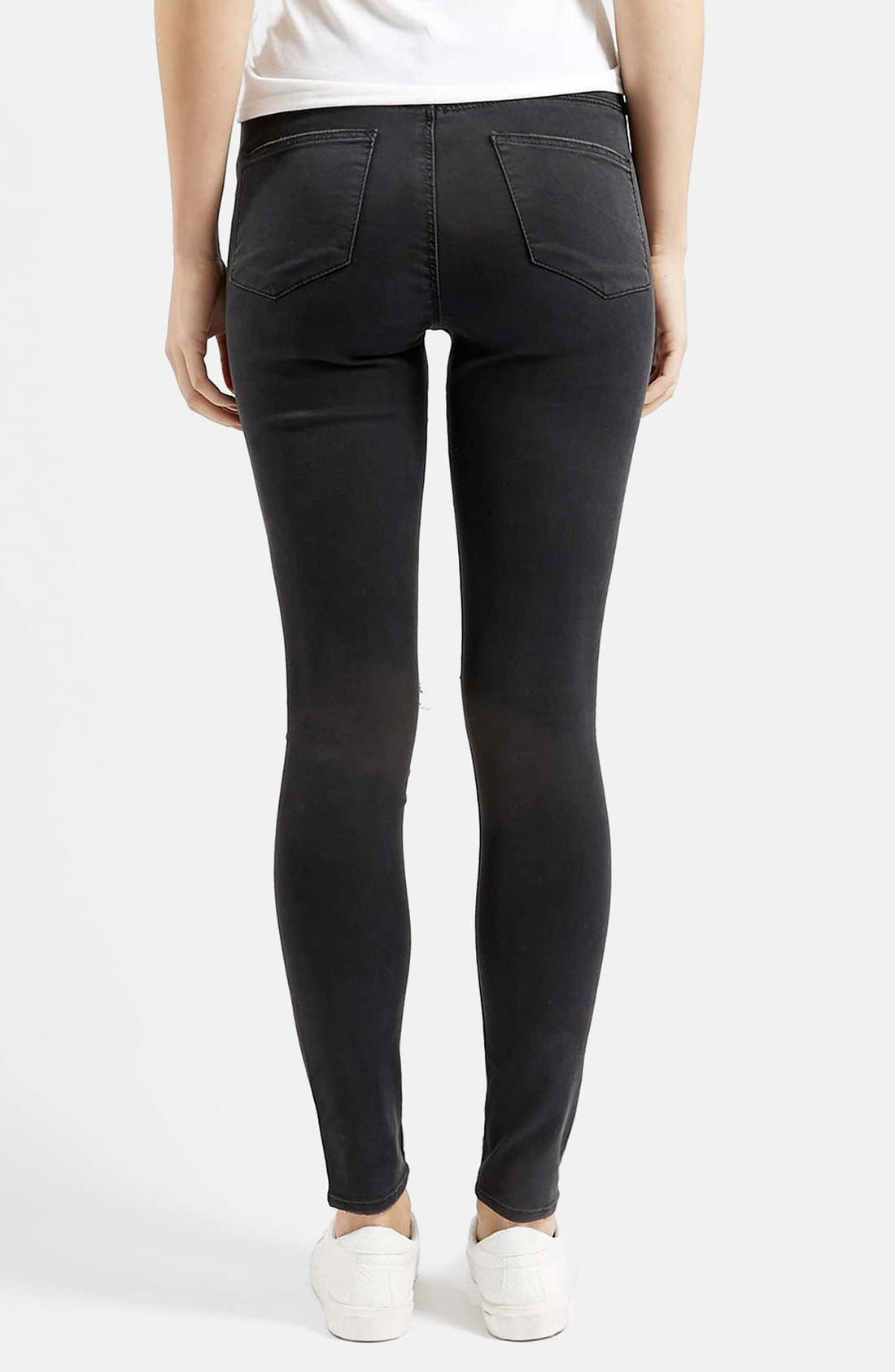 Moto 'Leigh' Ripped Skinny Jeans,                             Alternate thumbnail 3, color,                             001