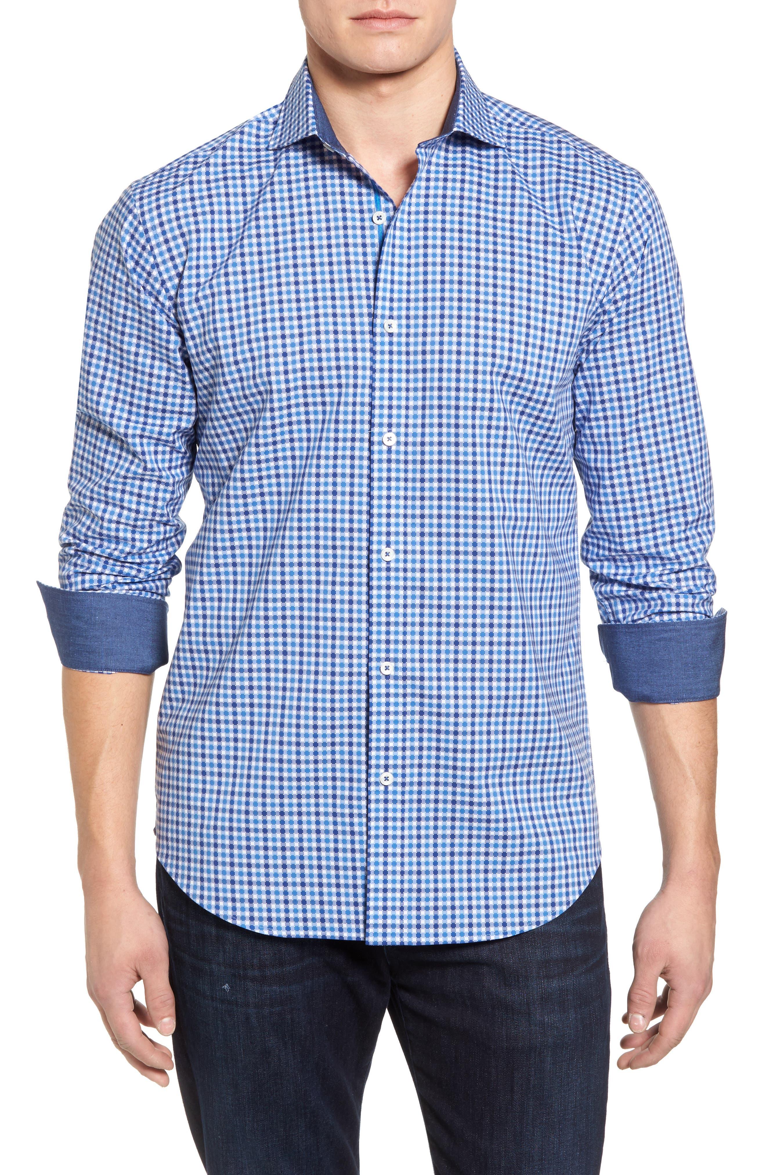 Classic Fit Dot Check Sport Shirt,                             Main thumbnail 1, color,                             420