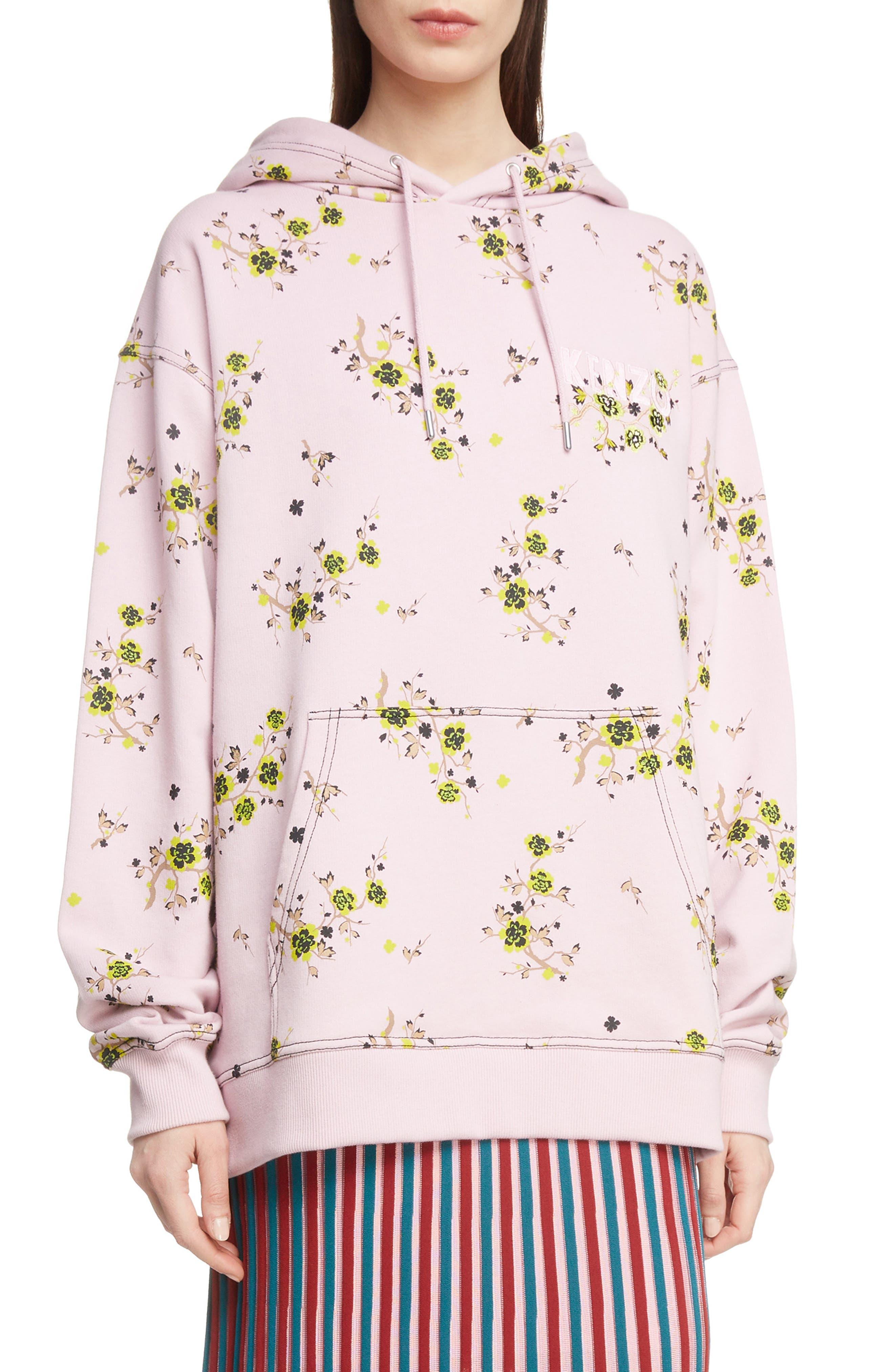 Oversize Floral Hoodie,                         Main,                         color, MOLLETON PASTEL PINK