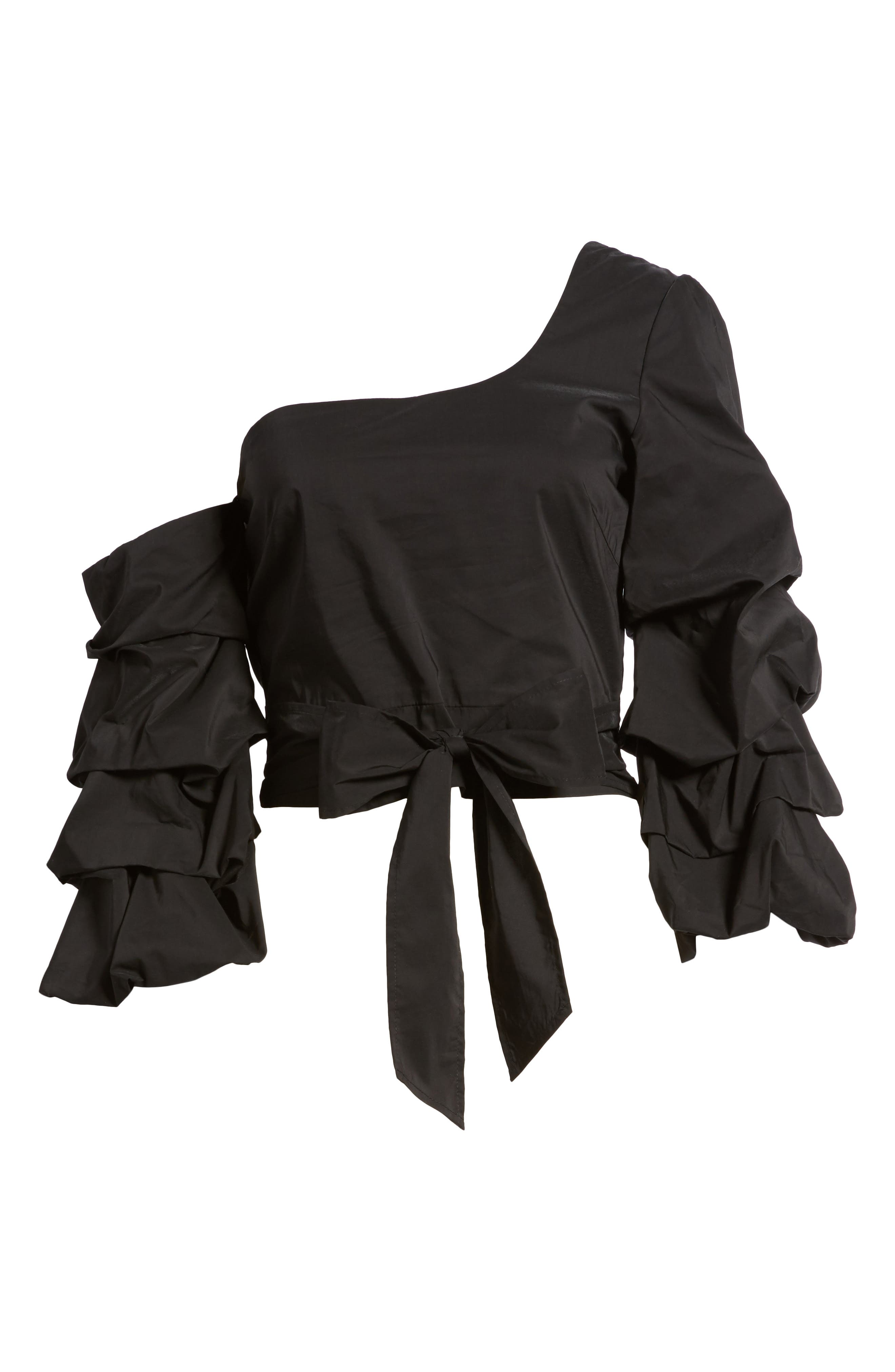 Ruffle One-Shoulder Blouse,                             Alternate thumbnail 6, color,