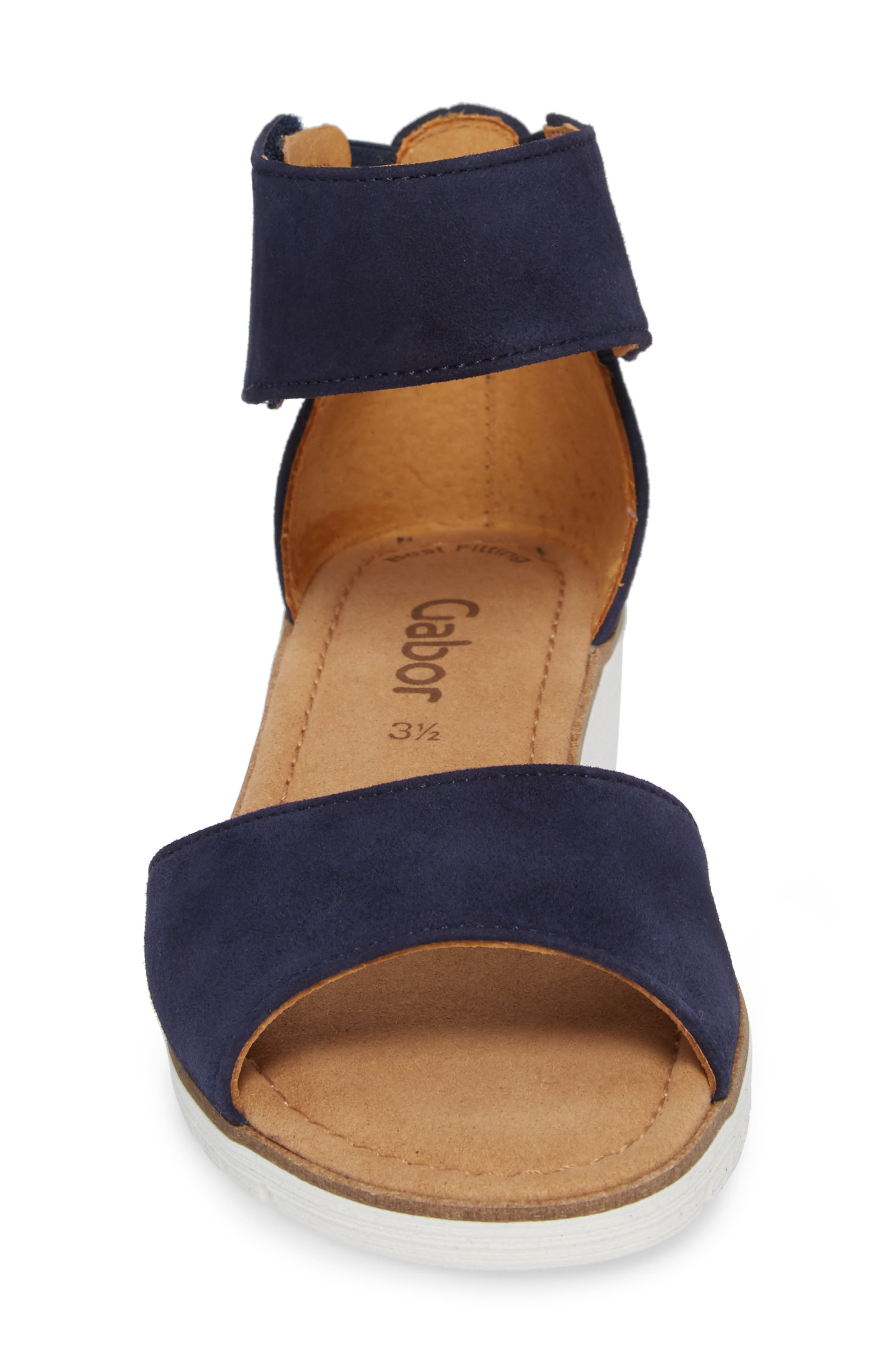 Ankle Strap Sandal,                             Alternate thumbnail 4, color,                             BLUE SUEDE