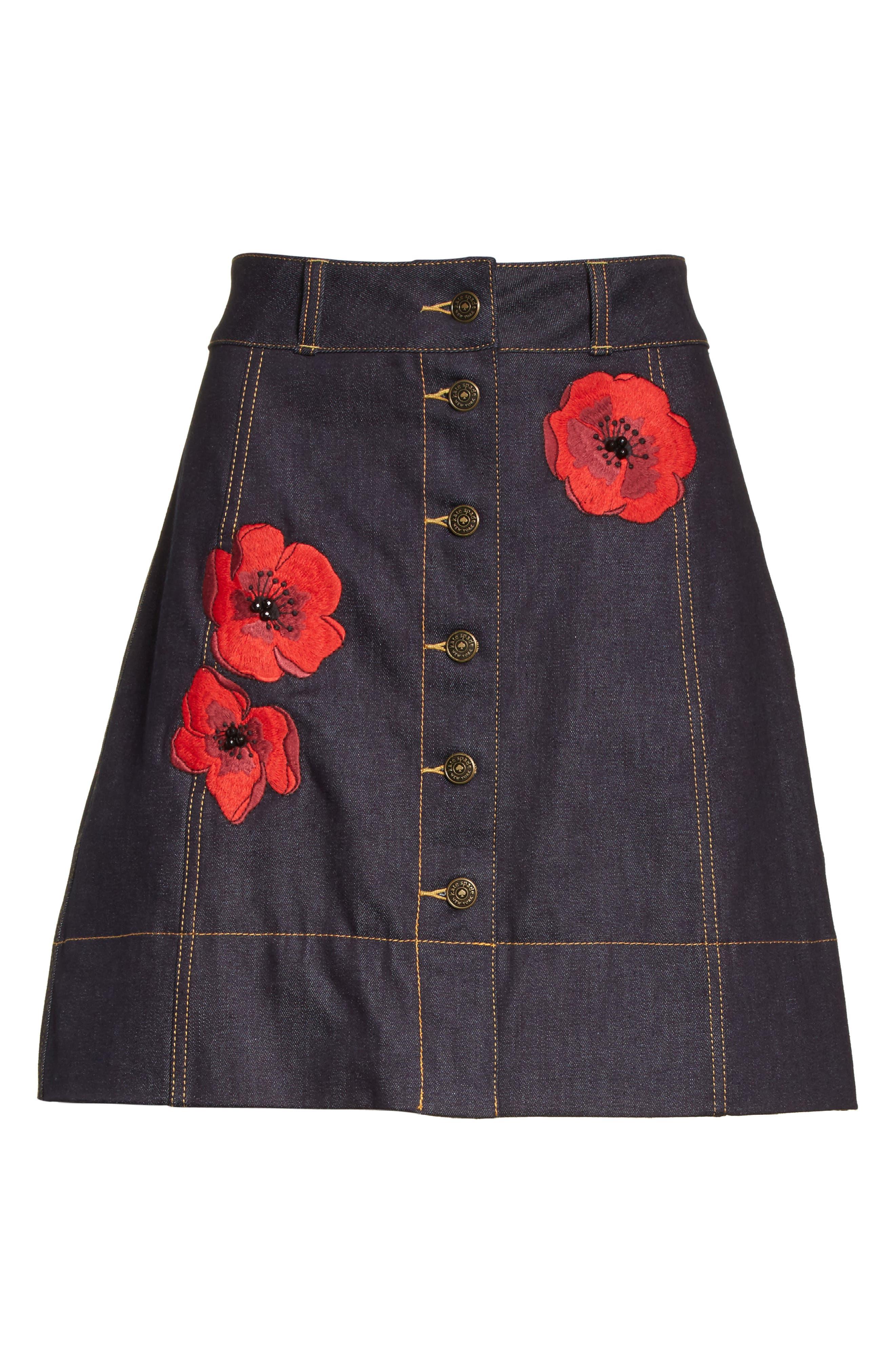 poppy denim skirt,                             Alternate thumbnail 6, color,                             429