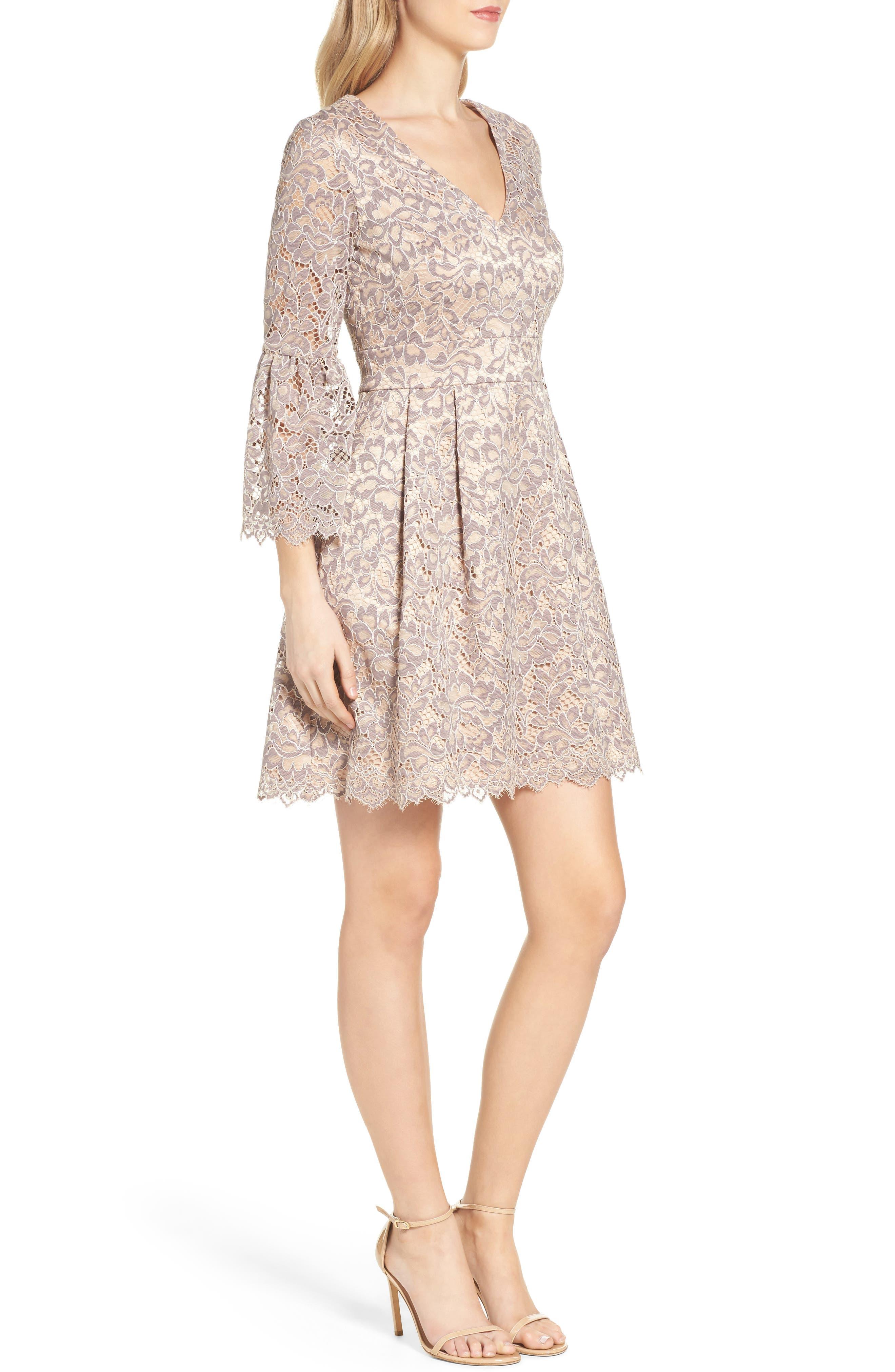 Lace Fit & Flare Dress,                             Alternate thumbnail 4, color,                             030