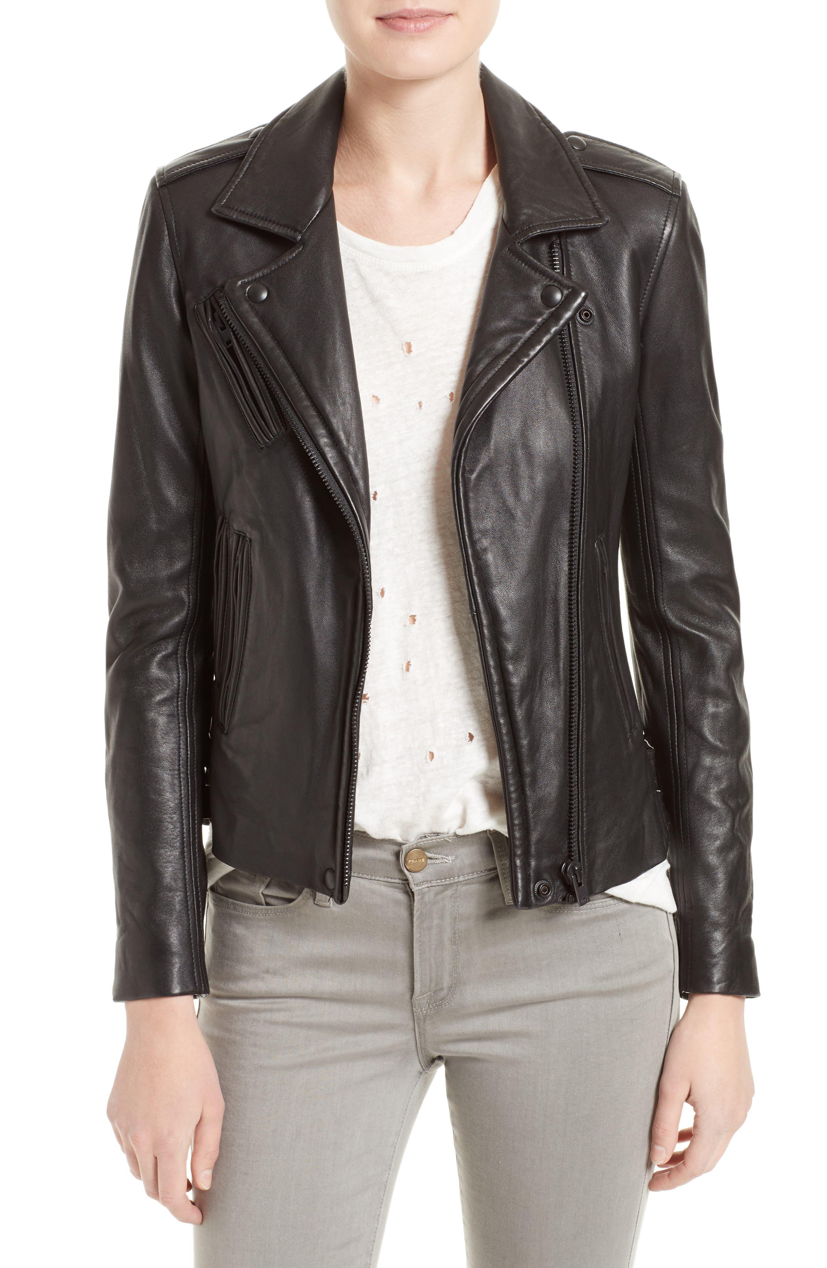 'Han' Lambskin Leather Moto Jacket,                             Main thumbnail 1, color,                             BLACK/ BLACK