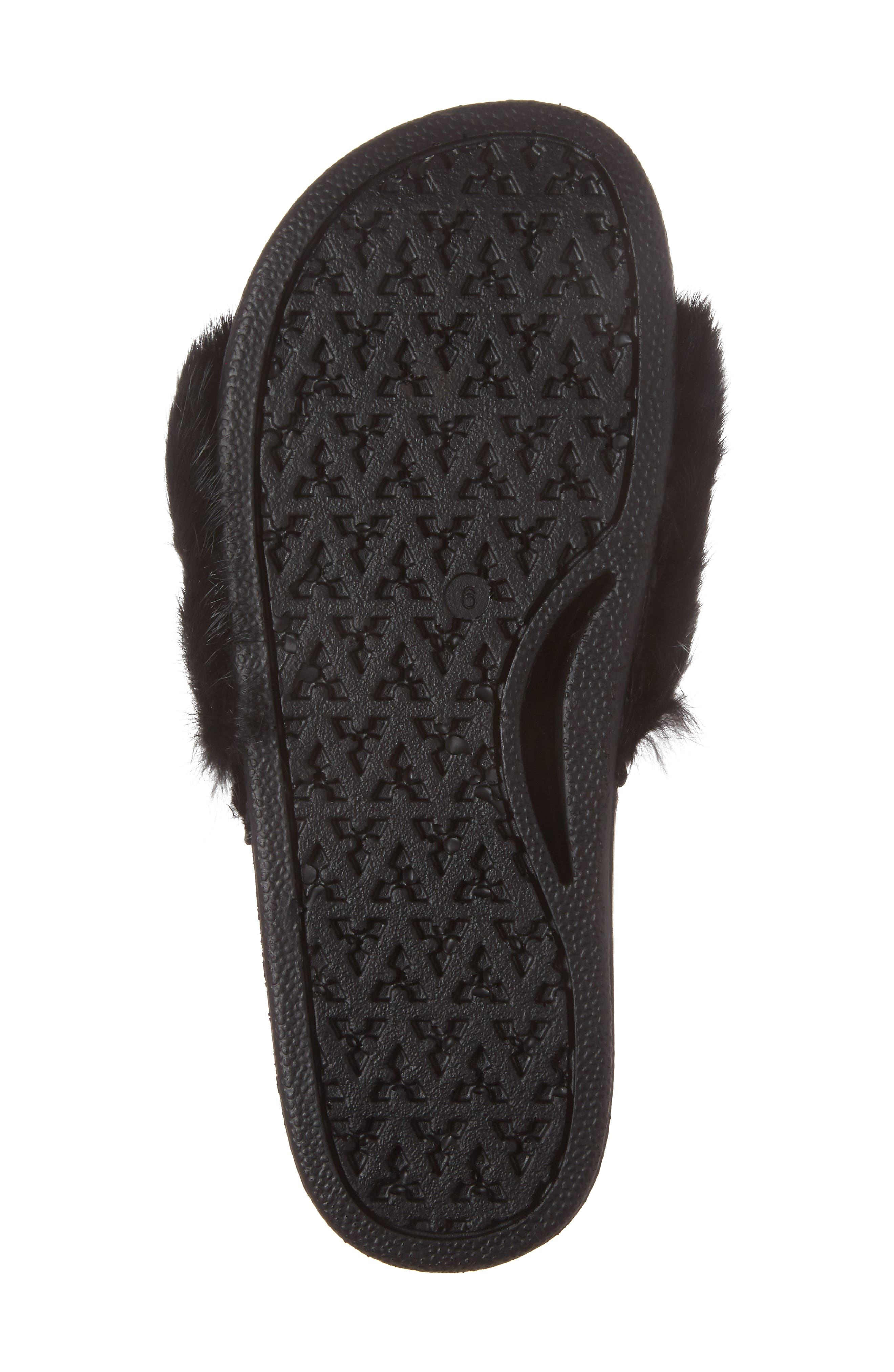 Sammi Genuine Fur Slide Sandal,                             Alternate thumbnail 6, color,                             001