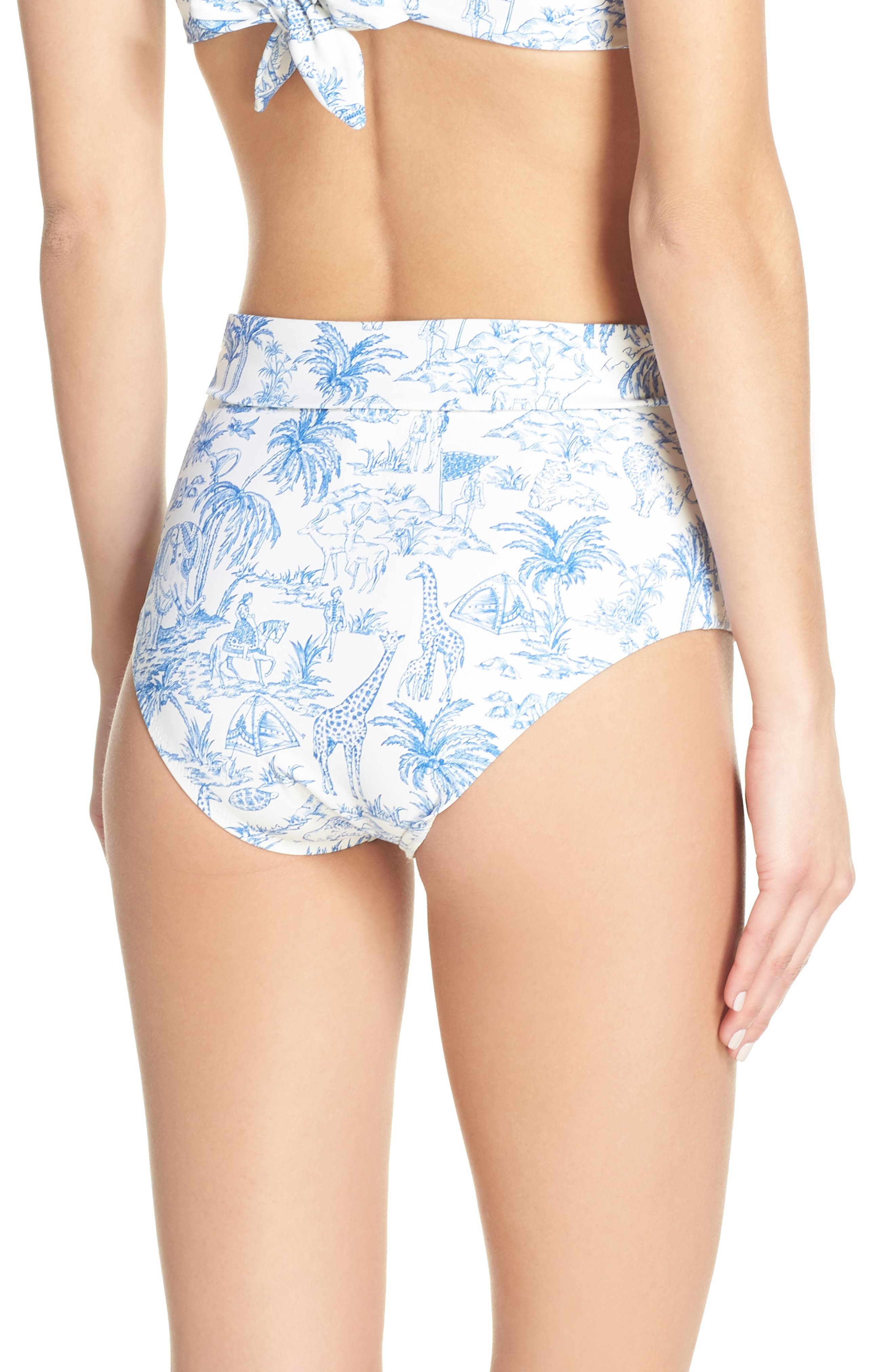 TORY BURCH,                             Sash Tie High Waist Bikini Bottoms,                             Alternate thumbnail 2, color,                             IVORY FAR AND AWAY