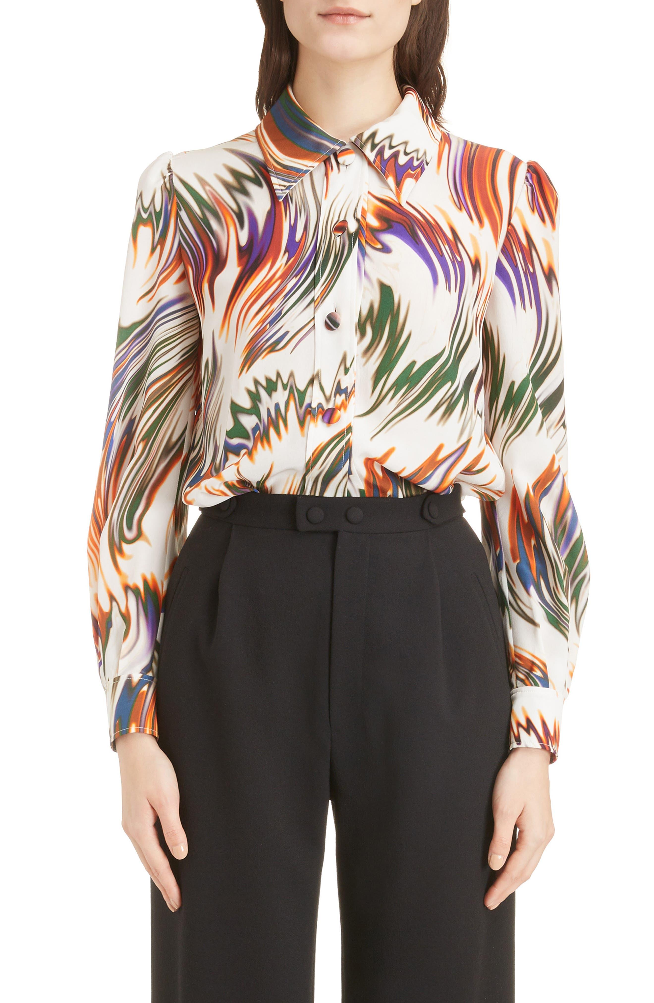 Wave Pattern Silk Blouse,                         Main,                         color, ECRU